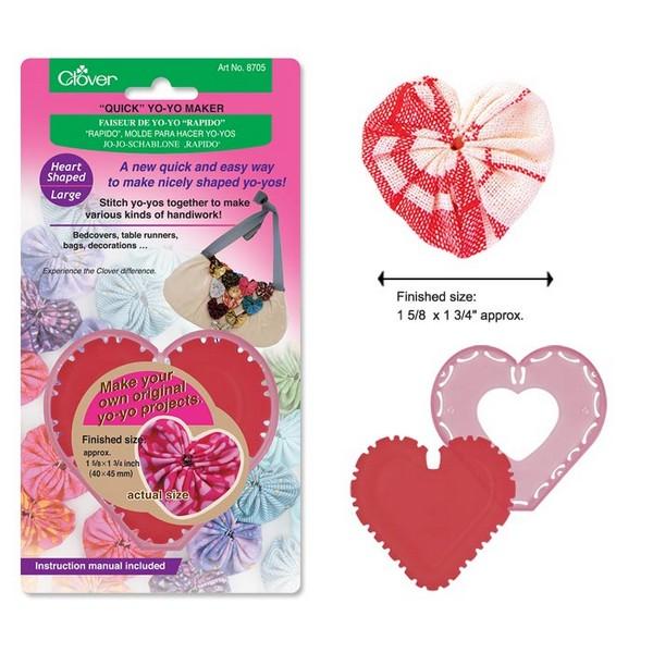 Пластиковое устройство для создания сердечек из ткани (бол.) Clover. 87058705Размер готового изделия около 40х45 мм