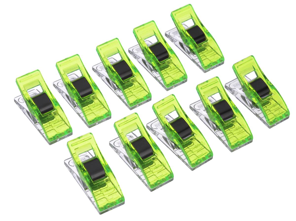 Набор клипс для квилтинга Clover, цвет: неоново-зеленый, 10 шт3180Набор Clover состоит из 10 клипс и изготовлен из металла и пластика. Изделия предназначены для закрепления краев при работе квилтингом или пэчворгом. Такие клипсы помогут вам во многих случаях, не делать лишнюю наметку или сметку деталей. Можно на всех строчках заколоть нужный участок работы, а потом легко отколоть. Длина: 2,5 см. Ширина: 1 см. Комплектация: 10 шт.