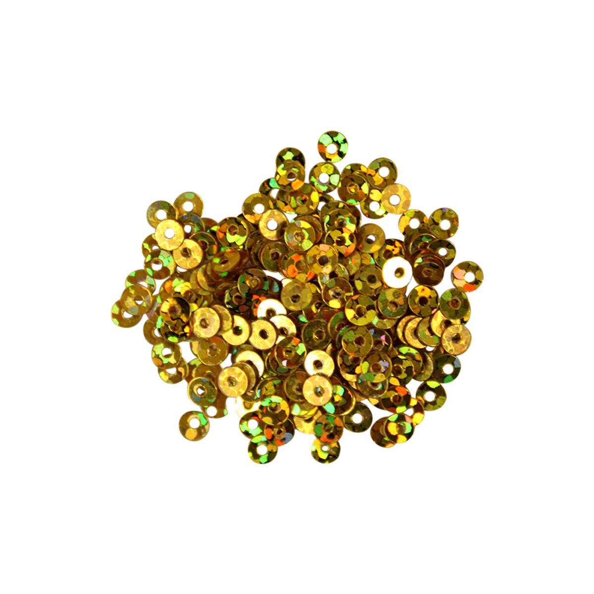Пайетки плоские Астра, с голограммой, цвет: золотистый (А20), 3 мм, 10 г7713421_А20Пайетки Астра с голограммой представляют собой блёстки, плоские чешуйки круглой формы, изготовленные из пластика с отверстием для продевания нитки. Они идеально подойдут для вышивания на предметах быта и женской одежде. Они позволят изыскано украсить любую вещь, подойдут для декора сценических костюмов, создания стилизованной одежды. Диаметр: 3 мм. Вес: 10 г.