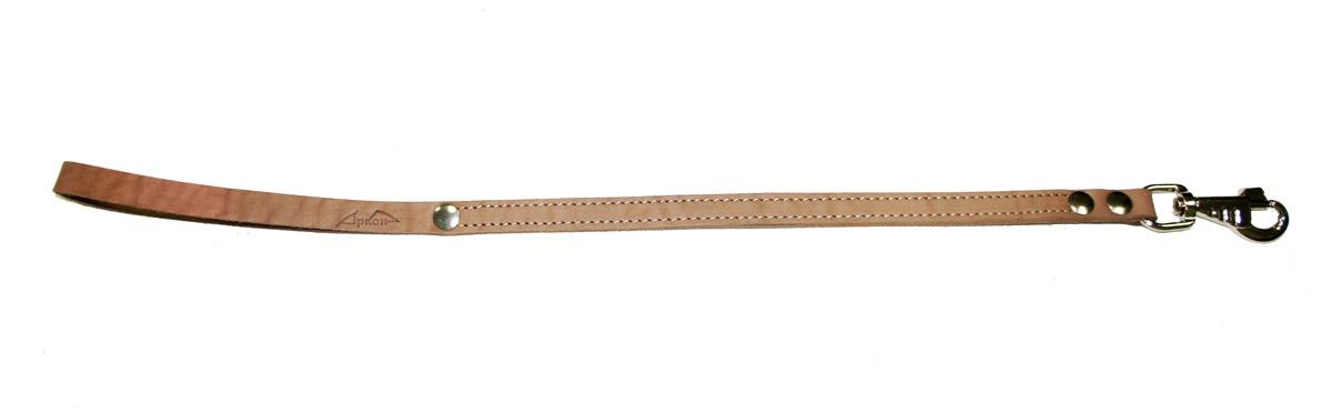 Водилка для собак Аркон Стандарт, цвет: бежевый, ширина 1,6 см, длина 60 смв16/2Водилка для собак Аркон Стандарт изготовлена из высококачественной натуральной кожи. Карабин выполнен из сверхпрочного металла. Водилка - это короткий поводок, состоящий из одной ручки с петлей и мощного карабина. Этот поводок используется для ведения большой собаки рядом. Изделие отличается не только исключительной надежностью и удобством, но и привлекательным современным дизайном. Длина водилки: 60 см. Ширина водилки: 1,6 см.