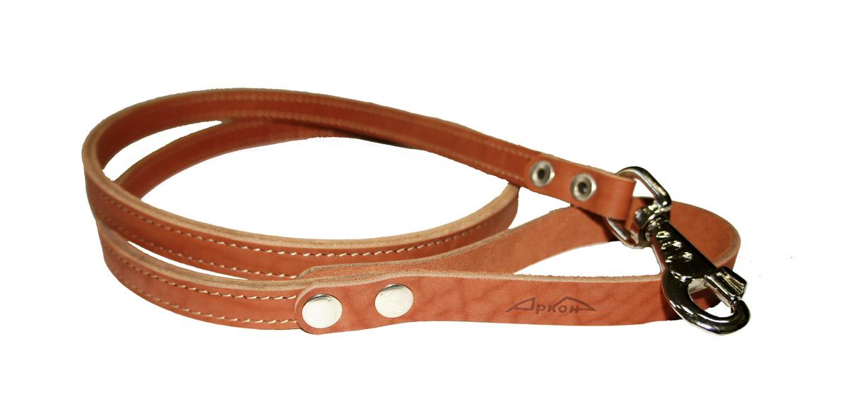 Поводок для собак Аркон Стандарт, цвет: коньячный, ширина 1,6 см, длина 140 смп16/2кПоводок для собак Аркон Стандарт изготовлен из высококачественной натуральной кожи. Карабин выполнен из легкого сверхпрочного сплава. Изделие отличается не только исключительной надежностью и удобством, но и привлекательным современным дизайном. Поводок - необходимый аксессуар для собаки. Ведь в опасных ситуациях именно он способен спасти жизнь вашему любимому питомцу. Иногда нужно ограничивать свободу своего четвероногого друга, чтобы защитить его или себя от неприятностей на прогулке. Длина поводка: 140 см. Ширина поводка: 1,6 см.