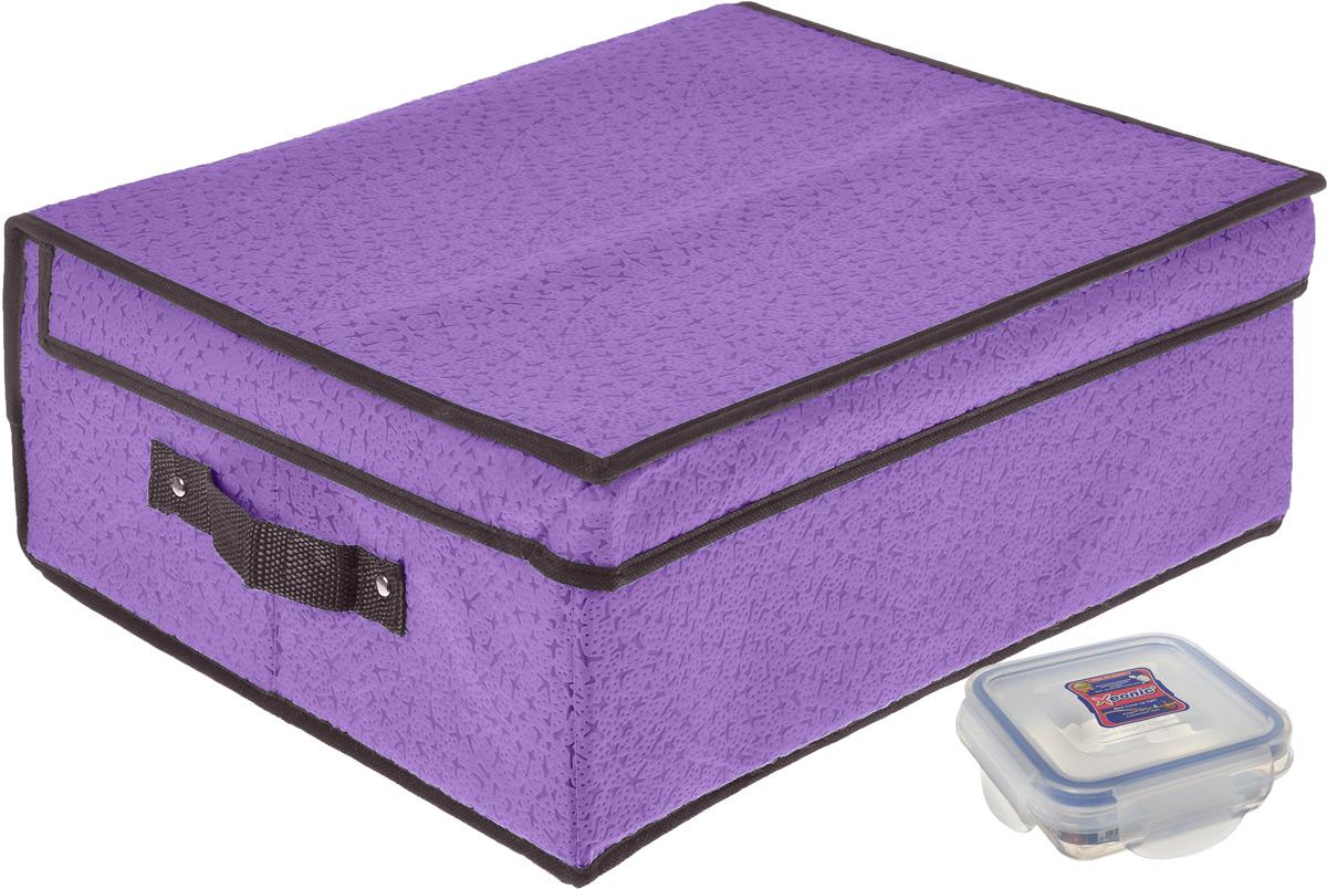 Кофр для хранения El Casa Звезды, складной, цвет: фиолетовый, 40 x 33 x 25 см + ПОДАРОК: Контейнер для хранения продуктов Xeonic, 110 мл370046+2Вместительный кофр El Casa Звезды, изготовленный из дышащего нетканого волокна, предназначен для хранения одеял, пледов и домашнего текстиля. Специальный нетканый материал позволяет воздуху проникать внутрь, при этом надежно защищая вещи от грязи, пыли и насекомых. Оригинальный дизайн сделает вашу гардеробную красивой и невероятно стильной. Размер кофра (в собранном виде): 40 см х 33 см х 25 см. В подарок к кофру прилагается герметичный контейнер для продуктов. Контейнер для хранения продуктов выполнен из высококачественного полипропилена. Он имеет 100% герметичность, термоустойчив, может быть использован в микроволновой печи и в морозильной камере, устойчив к воздействию масел и жиров, не впитывает запах. Удобен в использовании, долговечен, легко открывается и закрывается, не занимает много места. Контейнер можно мыть в посудомоечной машине. Размер контейнера: 9,5 см х 9,5 см х 3 см. Объем контейнера: 110 мл.