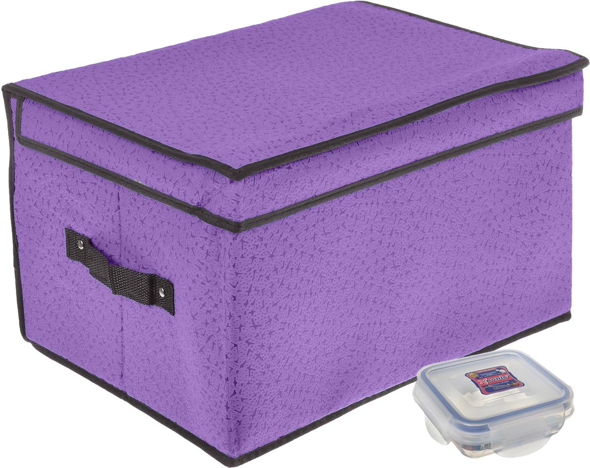 Кофр для хранения El Casa Звезды, цвет: фиолетовый, 40 x 30 x 25 см + ПОДАРОК: Контейнер для хранения продуктов Xeonic, 110 мл370014+2Вместительный кофр El Casa Звезды, изготовленный из дышащего нетканого волокна, предназначен для хранения одеял, пледов и домашнего текстиля. Специальный нетканый материал позволяет воздуху проникать внутрь, при этом надежно защищая вещи от грязи, пыли и насекомых. Оригинальный дизайн сделает вашу гардеробную красивой и невероятно стильной. Размер кофра (в собранном виде): 40 см х 30 см х 25 см. В подарок к кофру прилагается герметичный контейнер для продуктов. Контейнер для хранения продуктов выполнен из высококачественного полипропилена. Он имеет 100% герметичность, термоустойчив, может быть использован в микроволновой печи и в морозильной камере, устойчив к воздействию масел и жиров, не впитывает запах. Удобен в использовании, долговечен, легко открывается и закрывается, не занимает много места. Контейнер можно мыть в посудомоечной машине. Размер контейнера: 9,5 см х 9,5 см х 3 см. Объем контейнера: 110 мл.
