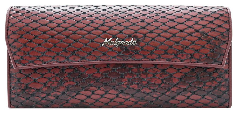 Кошелек женский Malgrado, цвет: красный. 75504-5250175504-52501Элегантный кошелек Malgrado изготовлен из высококачественной натуральной кожи с фактурным тиснением под кожу рептилии, оформлен металлической фурнитурой с символикой бренда. Изделие содержит одно отделение, закрывающееся клапаном на кнопку. Внутри расположены: три отделения для купюр, карман для мелочи на застежке-молнии, три кармана для мелких документов, девять кармашков для визиток и кредитных карт. Снаружи, на задней стороне кошелька, расположен открытый карман. Изделие упаковано в фирменную металлическую коробку. Стильный кошелек не оставит равнодушной ни одну представительницу прекрасной половины человечества.