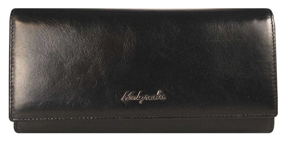 Кошелек женский Malgrado, цвет: черный. 72032-3-64D72032-3-64DЭлегантный кошелек Malgrado изготовлен из высококачественной натуральной кожи, оформлен металлической фурнитурой с символикой бренда. Изделие содержит одно отделение, закрывающееся клапаном на кнопку. Внутри расположены: три отделения для купюр, карман на застежке-молнии, карман для мелких документов, девять карманов для визиток и кредитных карт, один из которых с прозрачной вставкой. Дополняет кошелек отделение для мелочи на рамочном замке, содержащее две секции. Изделие упаковано в фирменную металлическую коробку. Стильный кошелек не оставит равнодушной ни одну представительницу прекрасной половины человечества.