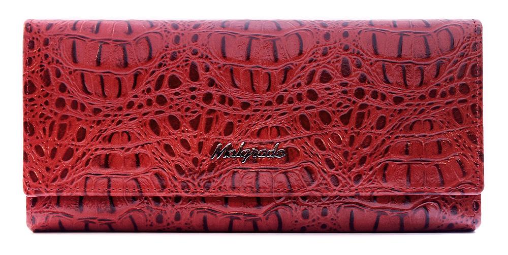 Кошелек женский Malgrado, цвет: красный. 72032-3-5080172032-3-50801Элегантный кошелек Malgrado изготовлен из высококачественной натуральной кожи с фактурным тиснением под кожу рептилии, оформлен металлической фурнитурой с символикой бренда. Изделие содержит одно отделение, закрывающееся клапаном на кнопку. Внутри расположены: три отделения для купюр, карман на застежке-молнии, карман для мелких документов, девять карманов для визиток и кредитных карт, один из которых с прозрачной вставкой. Дополняет кошелек отделение для мелочи на рамочном замке, содержащее две секции. Изделие упаковано в фирменную металлическую коробку. Стильный кошелек не оставит равнодушной ни одну представительницу прекрасной половины человечества.