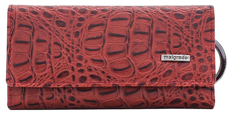 Ключница Malgrado, цвет: красный. 47006-5080147006-50801Стильная ключница Malgrado изготовлена из натуральной кожи с декоративным фактурным тиснением под кожу рептилии и оформлена металлической пластиной с символикой бренда. Изделие закрывается широким клапаном на две кнопки. Внутри ключницы расположены шесть крючков для ключей, кармашек на застежке-молнии и металлическое кольцо для возможности крепления к поясу или сумке. Ключница упакована в коробку из плотного картона с логотипом фирмы. Компактная ключница станет отличным подарком для человека, ценящего качественные и необычные вещи.