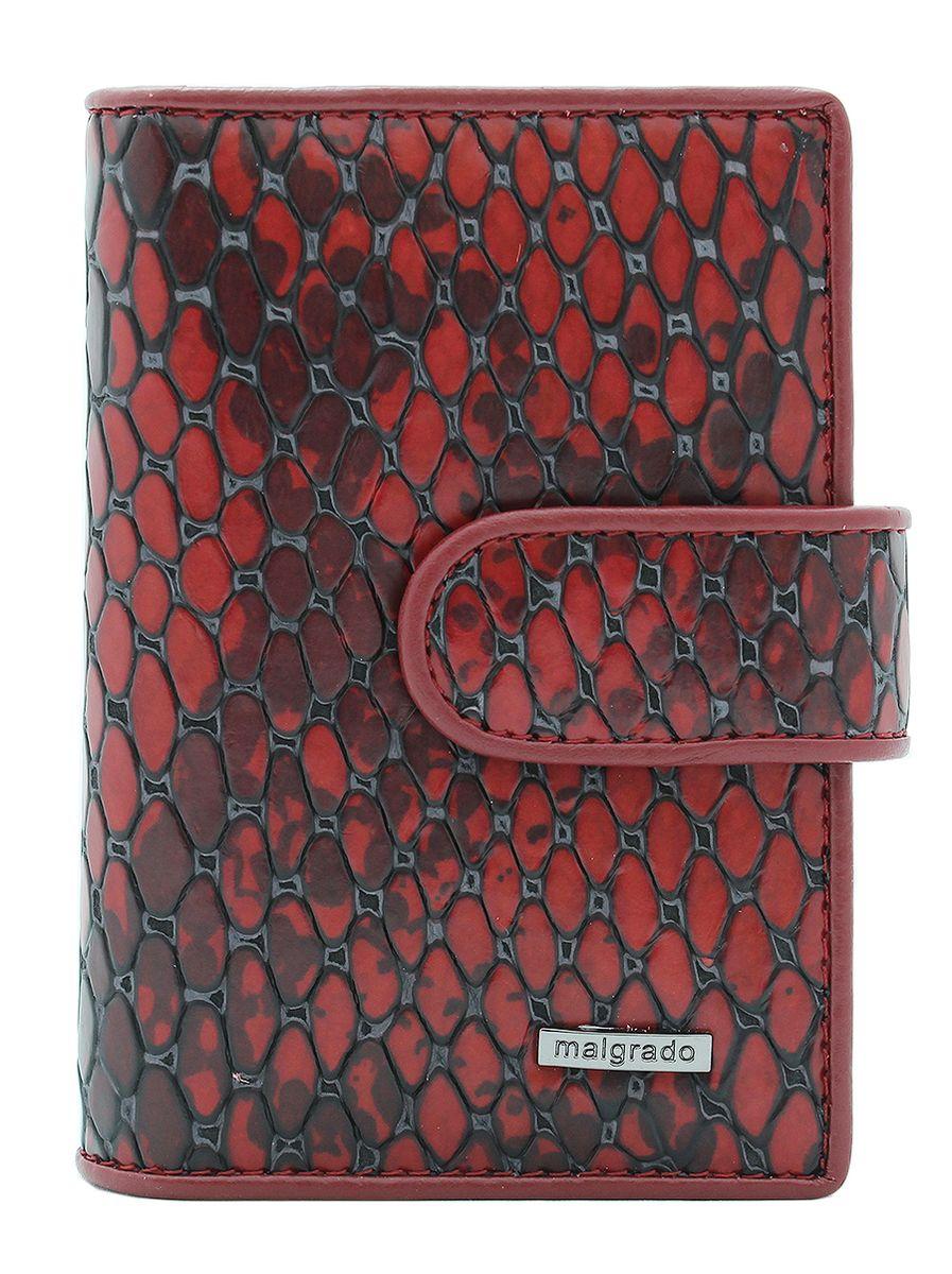 Визитница Malgrado, цвет: красный. 42003-5250142003-52501Стильная визитница Malgrado изготовлена из натуральной кожи с фактурным тиснением под кожу рептилии, оформлена металлической пластиной с символикой бренда. Визитница закрывается хлястиком на кнопку. Внутри содержит вкладыш, состоящий из двадцати файлов для кредитных и дисконтных карт, карман с прозрачной вставкой и карман для мелких документов. Такая визитница станет замечательным подарком человеку, ценящему качественные и практичные вещи.