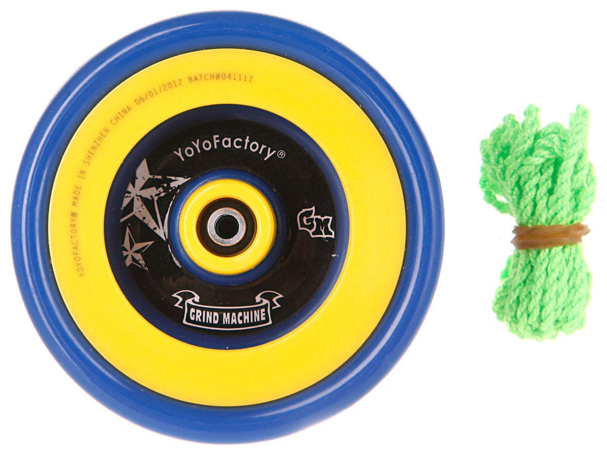 YoYoFactory Йо-йо PGM цвет синий желтыйGRIND MACHINE_синий, желтыйЙо-йо YoYoFactory PGM - это пластиковый с металлическими элементами йо-йо с фиксированным гэпом и подшипником из нержавеющей стали. Йо-йо - это игрушка, состоящая из двух симметричных половинок соединенных осью, к которой прикреплена веревка. Современный йо-йо значительно отличается от тех, к которым многие привыкли. Сейчас йо-йо - это такая же часть молодежной культуры, как скейт, ВМХ или сноуборд. Йо-йо популярно во многих странах мира, таких как Россия, США и Япония. Ежегодно во всем мире проходят различные чемпионаты по игре с йо-йо, в том числе и Чемпионат России, в котором собираются лучшие игроки со всей страны.
