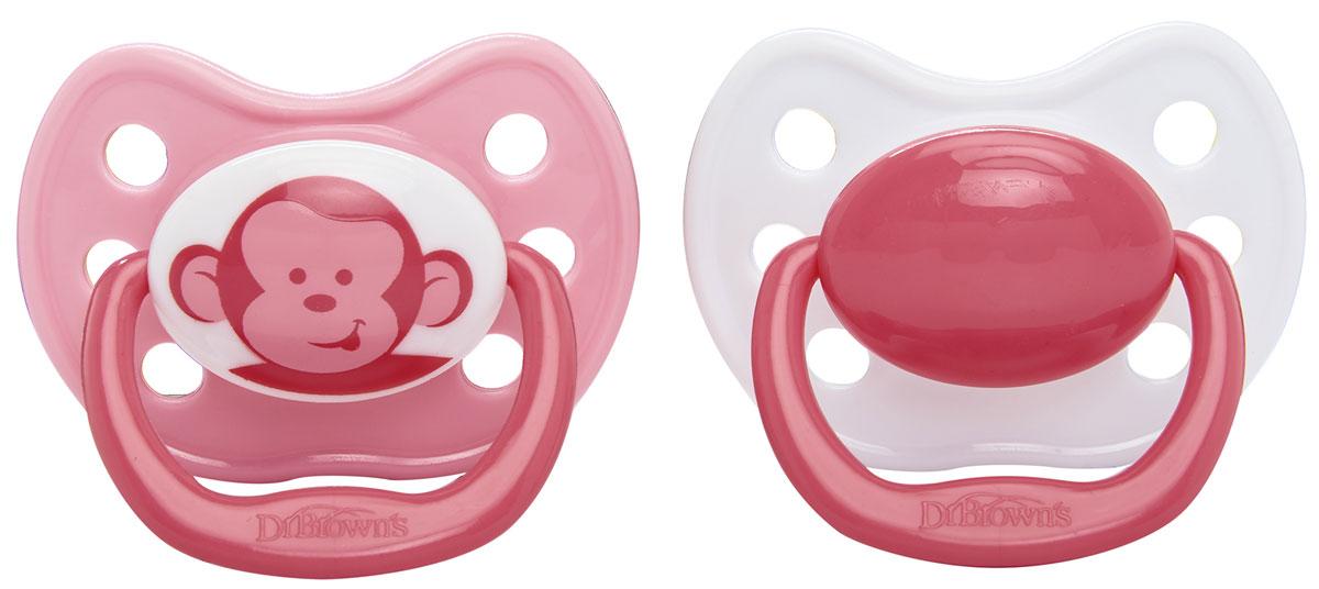 Dr.Brown's Пустышка силиконовая ортодонтическая от 6 до 12 месяцев цвет розовый 2 шт
