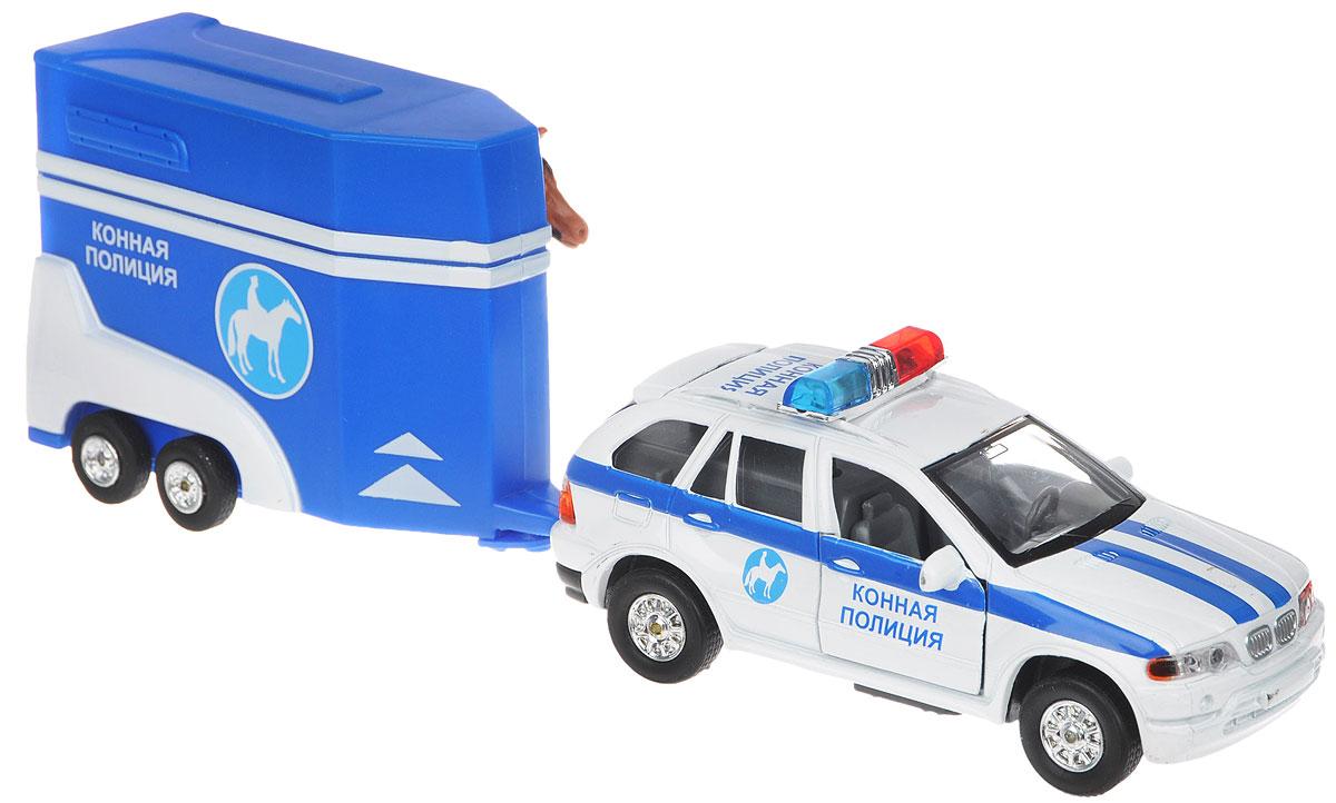ТехноПарк Машинка инерционная Конная полиция с прицепомCT10-027-1Инерционная машинка ТехноПарк Конная полиция непременно понравится вашему ребенку. Набор включает в себя автомобиль конной полиции, фургон и лошадку. Машинка и фургон выполнены из пластика и металла. Передние двери и багажник автомобиля, дверь фургона открываются, пандус фургона опускается. Машинка оснащена инерционным механизмом: стоит немного откатить игрушку назад, затем отпустить - и она быстро поедет вперед. Прорезиненные колеса обеспечивают надежное сцепление с любой поверхностью пола. Если надавить на крышу машины, то заработают мигалки с сиреной и будет слышен голос из полицейской машины Уступите дорогу!, Снизьте скорость!, Водитель, сверните вправо!. Лошадку легко вынуть из фургона, открыв боковую дверь или опустив пандус. Ваш ребенок будет часами играть с набором, придумывая различные истории. Порадуйте его таким замечательным подарком! Для работы игрушки необходимы 3 батарейки типа LR41 (товар комплектуется демонстрационными).