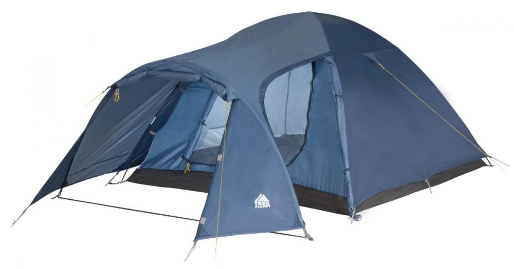 Палатка четырехместная Trek Planet Lima 4, цвет: синий70182(н)Двухслойная четырехместная палатка Trek Planet Lima 4 с хорошей вентиляцией и большим тамбуром, хорошо подойдет для кемпинга выходного дня или отдыха на природе с семьей. Особенности модели: Палатка легко и быстро устанавливается, Тент палатки из полиэстера, с пропиткой PU водостойкостью 2000 мм, надежно защитит от дождя и ветра, Все швы проклеены, Внутренняя палатка, выполненная из дышащего полиэстера, обеспечивает вентиляцию помещения и позволяет конденсату испаряться, не проникая внутрь палатки, Просторный тамбур с двумя входами, Москитная сетка на входе в спальное отделение в полный размер двери, Вентиляционное окно, Каркас выполнен из прочного стеклопластика, Дно изготовлено из прочного армированного полиэтилена, Внутренние карманы для мелочей, Возможность подвески фонаря в палатке. Палатка упакована в сумку-чехол с ручками, застегивающуюся на застежку-молнию. Размер палатки (в собранном...