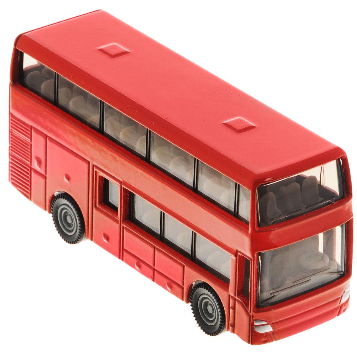 Siku Двухэтажный автобус1321Двухэтажный автобус от Siku станет замечательным подарком для автолюбителей всех возрастов. Модель представляет собой реалистичную копию двухэтажного автобуса и отличается высокой степенью детализации. Корпус модели выполнен из металла, детали изготовлены из ударопрочной пластмассы. Салон автобуса также тщательно проработан, внутри есть водительское сиденье с рулем и места для пассажиров. Автобус можно катать благодаря подвижным колесам. Ваш ребенок часами будет играть с такой игрушкой, придумывая различные истории.