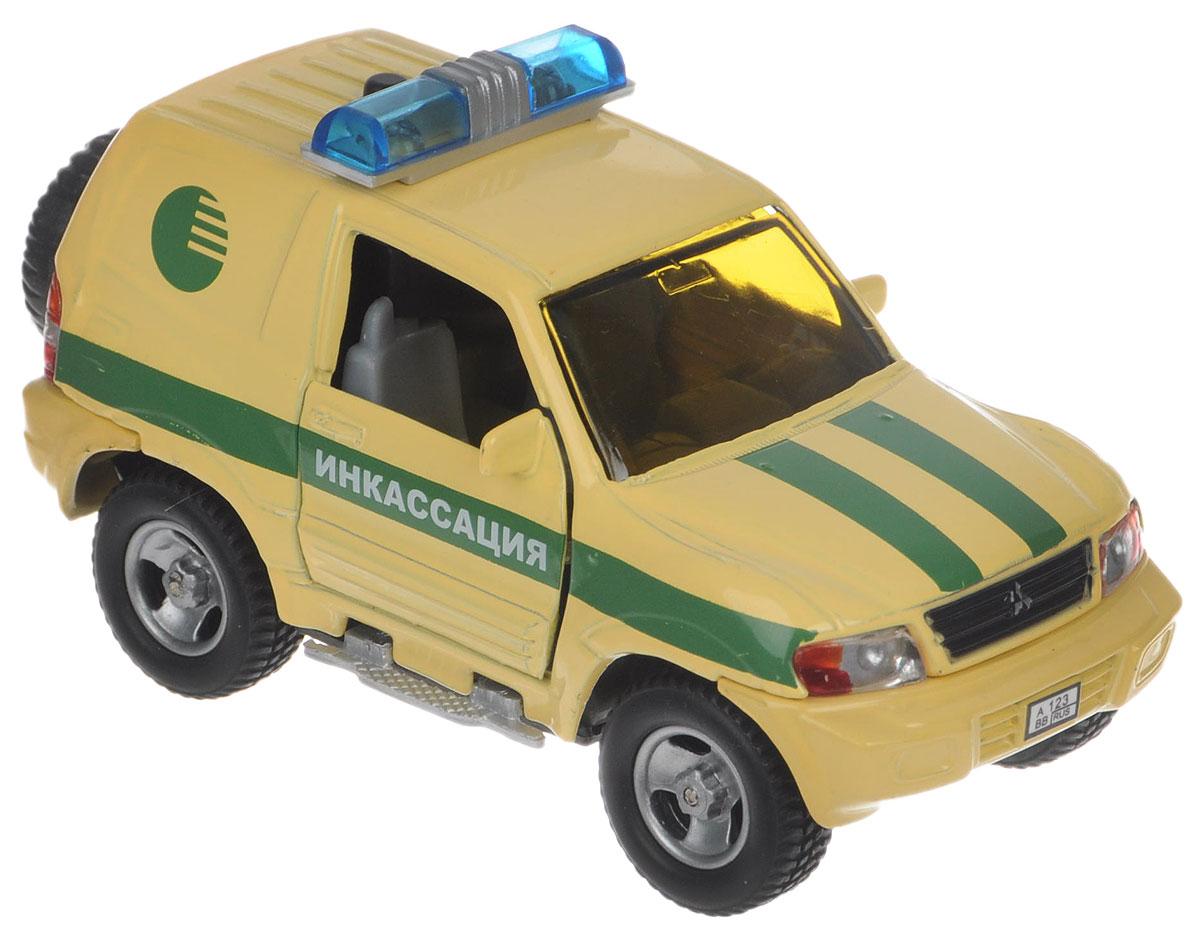 Пламенный мотор Машинка инерционная Mitsubishi Инкасация87515Машинка инерционная Пламенный мотор Mitsubishi. Инкасация обязательно привлечет внимание взрослого и ребенка и понравится любому, кто увлекается автомобилями. Выполнена в точной детализации с настоящим автомобилем инкасации в масштабе 1:43. Дверцы машины открываются. При нажатии на кнопку на крыше модели замигают проблесковые маячки и раздастся звук сирены. Игрушка оснащена инерционным ходом. Машинку необходимо отвести назад, затем отпустить - и она быстро поедет вперед. Прорезиненные колеса обеспечивают надежное сцепление с любой поверхностью пола. Ваш ребенок будет часами играть с этой машинкой, придумывая различные истории. Порадуйте его таким замечательным подарком! Рекомендуется докупить 3 батарейки типа LR41 (товар комплектуется демонстрационными).