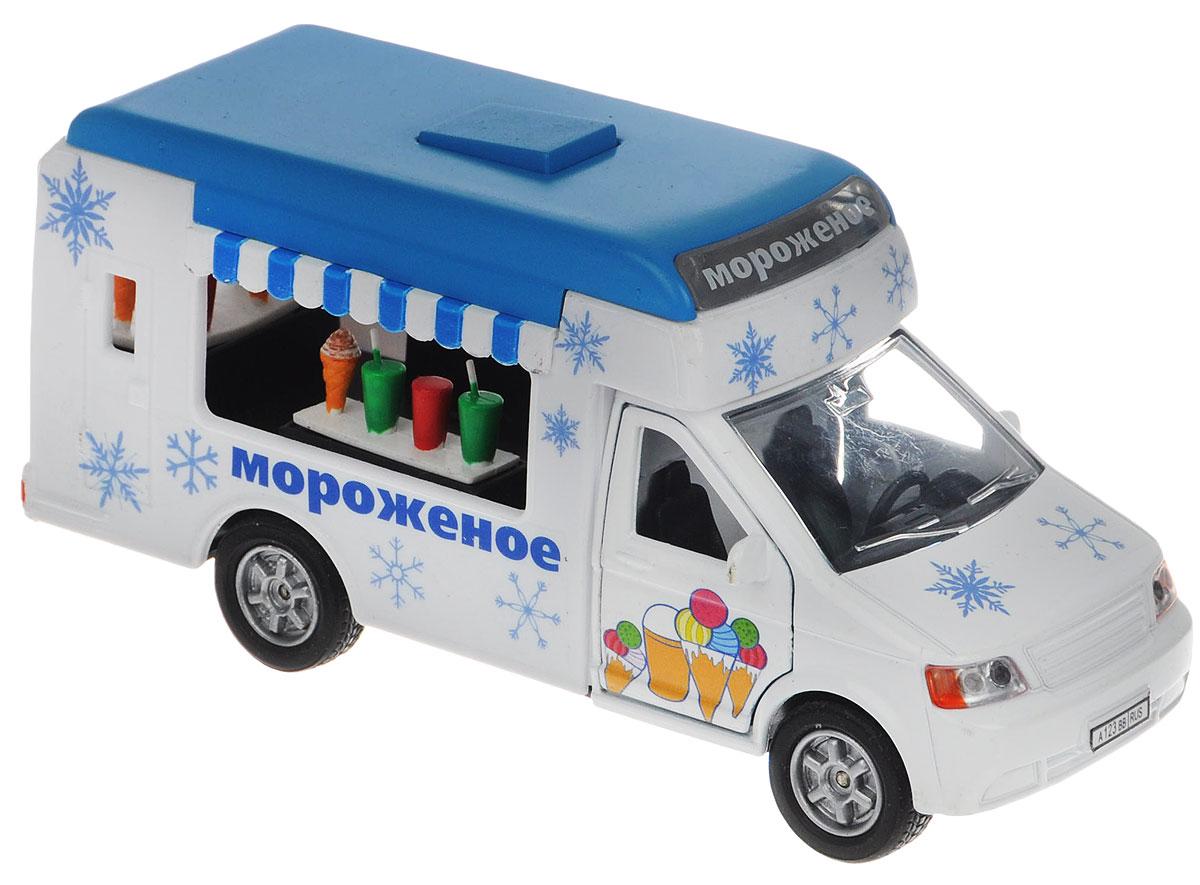 Пламенный мотор Машинка инерционная Мороженое87519Машинка инерционная Пламенный мотор Мороженое - реалистично смоделированная игрушка для маленьких автолюбителей. Отличается хорошей детализацией и качественным видом. В машинку встроен инерционный механизм, который может привезти игрушку в движение, стоит только откатить машинку назад, а затем отпустить. Также, если нажать на кнопку, то заиграет приятная мелодия и замигает надпись Мороженое. Открываются передние двери. Машинка подойдет для игры как дома, так и на улице. Выполнена из качественных материалов, которые не вредят здоровью ребенка. Масштаб 1:43. Рекомендуется докупить 3 батарейки типа LR41 (товар комплектуется демонстрационными).