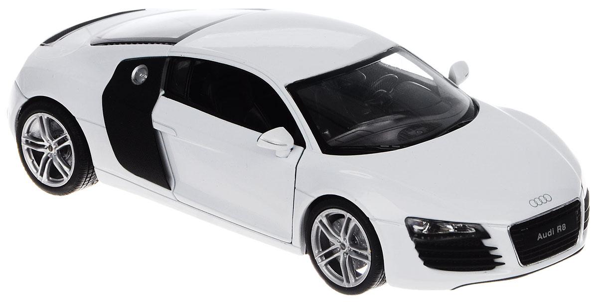 Welly Модель автомобиля Audi R8 V1022493Модель автомобиля Welly Audi R8 V10 - отличный подарок как ребенку, так и взрослому коллекционеру. Благодаря броской внешности, а также великолепной точности, с которой создатели этой модели масштабом 1:24 передали внешний вид настоящего автомобиля, модель станет подлинным украшением любой коллекции авто. Машина будет долго служить своему владельцу благодаря металлическому корпусу с элементами из пластика. Дверцы и отсек двигателя машины открываются, шины обеспечивают отличное сцепление с любой поверхностью пола. Модель автомобиля Welly Audi R8 обязательно понравится вашему ребенку и станет достойным экспонатом любой коллекции.