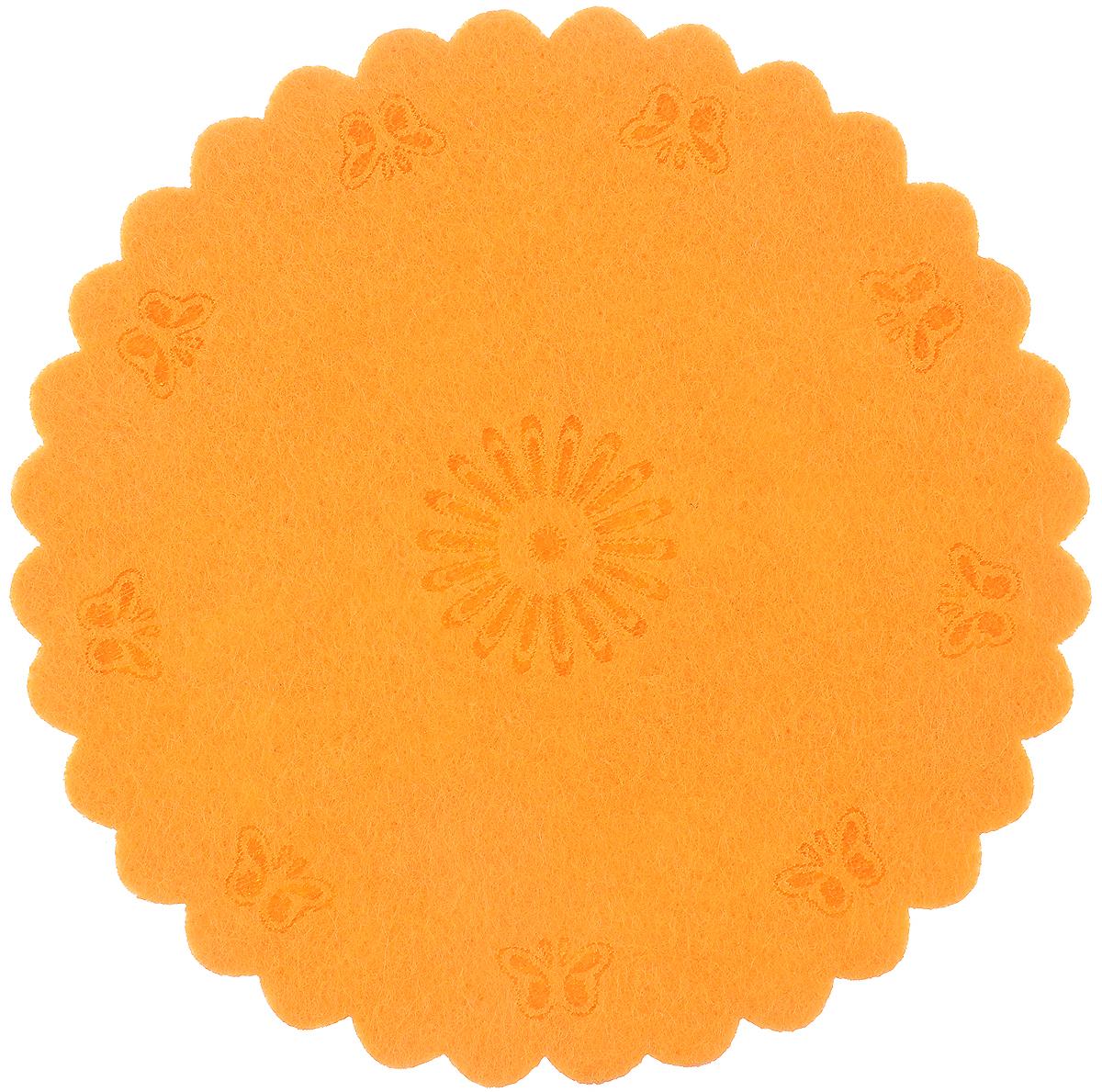 Украшение декоративное RTO Круг, цвет: оранжевый, диаметр 12 смFTD-91Декоративное украшение RTO Круг предназначено для оформления интерьера. Изделие выполнено из высококачественного фетра в виде круга с нанесенными декоративными элементами. Декоративное украшение послужит приятным и полезным сувениром для близких и знакомых и, несомненно, доставит массу положительных эмоций своему обладателю.