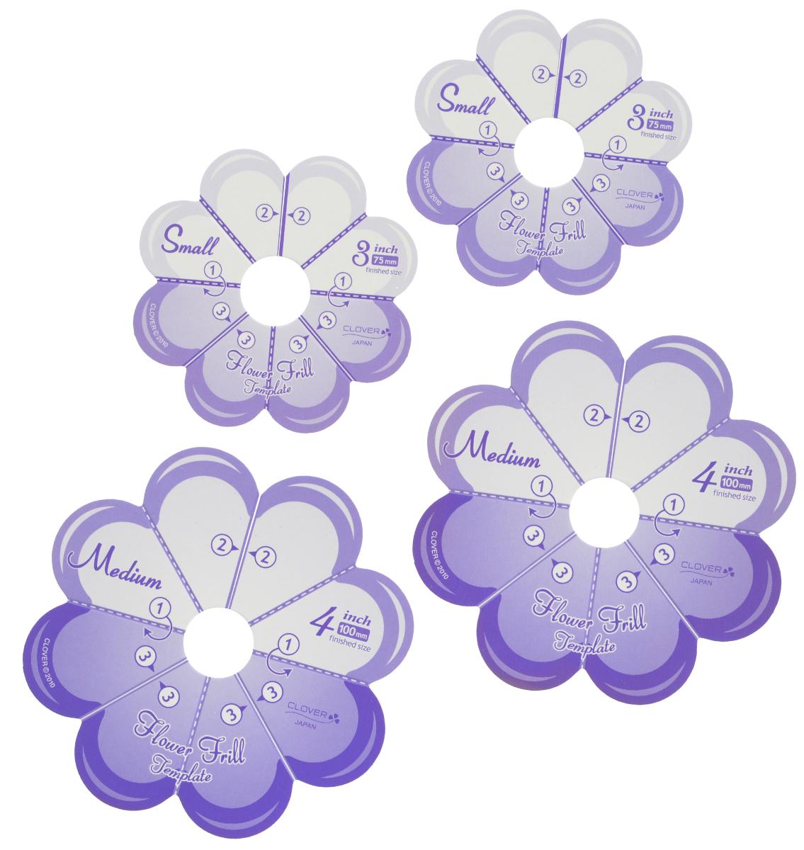 Набор шаблонов для изготовления декоративных цветов Clover, малые и средние, 4 шт8460Шаблон для изготовления декоративных цветов Clover выполнен из картона. Такое изделие позволит быстро и легко изготовить декоративные цветы. Такими цветами можно украсить обручи, элегантные повязки, открытки, подушки и многое другое. В набор входят 2 шаблона диаметром 75 мм и 2 шаблона диаметром 100 мм.