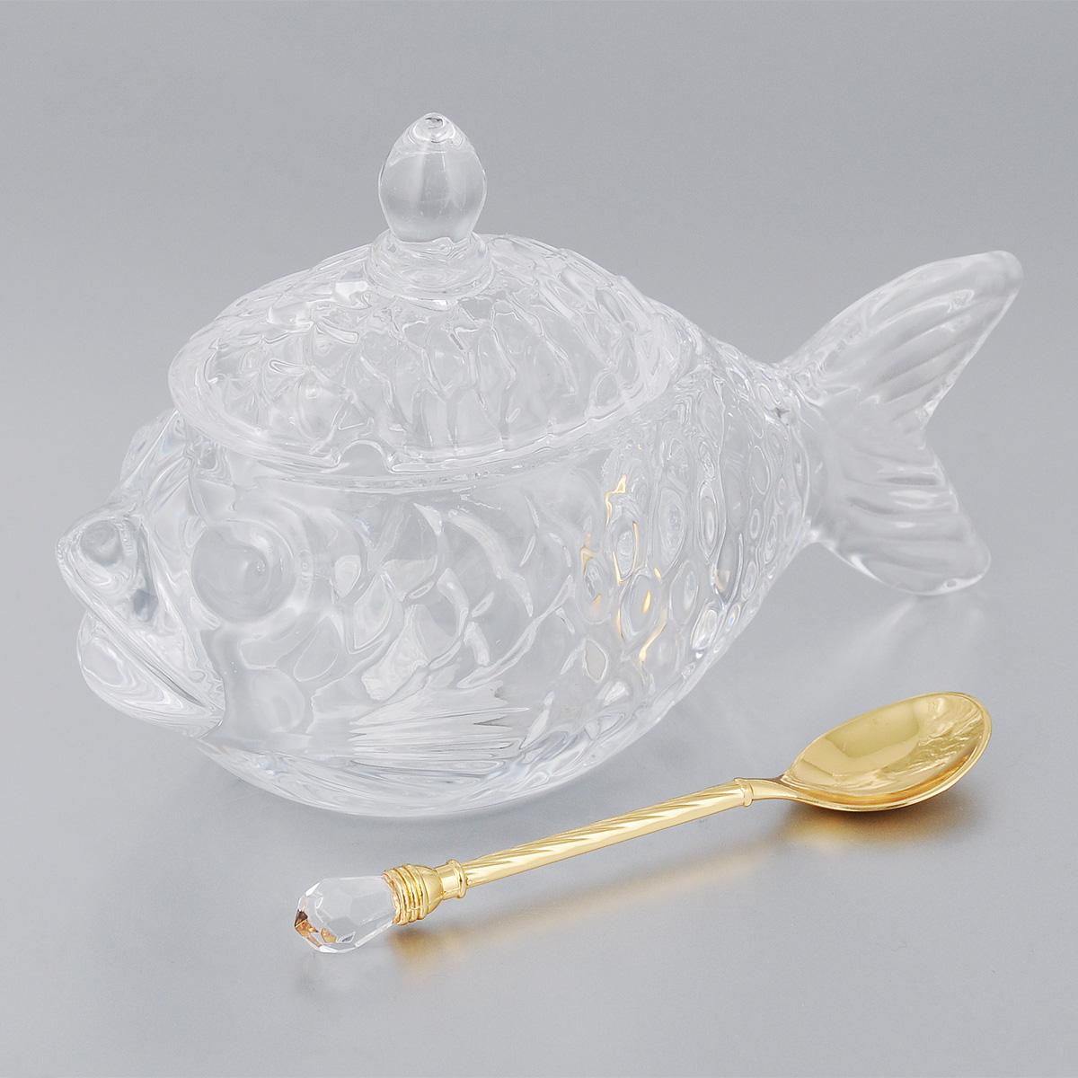 Икорница Elan Gallery Рыбка, с ложкой, 150 мл890038Икорница Elan Gallery Рыбка изготовлена из высококачественного стекла в форме рыбки. Изделие оснащено крышкой и специально предназначено для сервировки икры. Оригинальное блюдо станет изысканным украшением вашего праздничного стола. В комплект входит ложка. Не рекомендуется применять абразивные моющие средства. Не использовать в микроволновой печи. Размер икорницы (по верхнему краю): 7,5 х 5,5 см. Высота икорницы (без учета крышки): 6,2 см. Длина ложечки: 11 см.