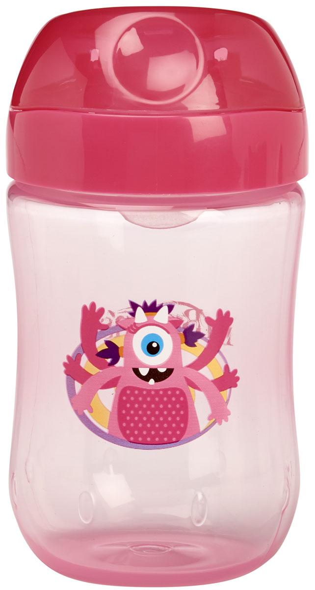 Чашка-непроливайка 270 мл с мягким носиком и откидывающейся крышкой, 9+ месяцев - Розовый Монстр