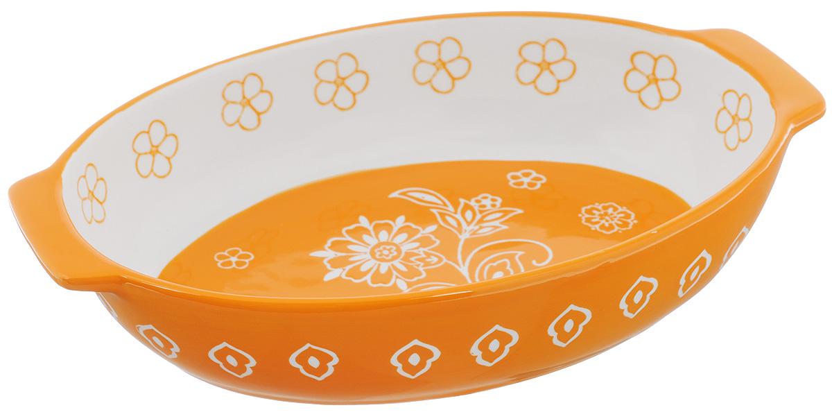 Блюдо для запекания Elan Gallery Цветочное поле, овальное, цвет: белый, оранжевый, 29 х 18 см830029Блюдо для запекания Elan Gallery Цветочное поле, изготовленное из высококачественной жаропрочной керамики, идеально подойдет для приготовления блюд в духовке, а также сервировки стола. Блюдо станет отличным дополнением к вашему кухонному инвентарю и подчеркнет ваш прекрасный вкус. Можно использовать в духовке и микроволновой печи. Размер по верхнему краю (с учетом ручек): 29 х 18 см. Высота стенки: 6,5 см.