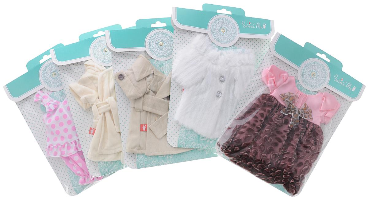 Зайка Ми Набор одежды Маленькая леди для мягкой игрушки 32 смStM-10/cВашей Зайке Ми, непременно, понравится набор одежды Маленькая леди. Набор состоит из пяти отдельных упаковок с оригинальной одеждой для зайчиков-девочек на все случаи жизни. В наборе есть летний комплект в горошек из маечки и штанишек. Если Зайка идет на праздник, то она надевает нарядное платье с бантиком на лифе. Если Зайка собралась на улицу, то может сверху накинуть бежевое пальто с поясом, а если на улице очень прохладно, то она берет красивую белую шубку. Дома Зайка ходит в длинном мягком халатике молочного цвета. Набор предназначен для игрушек высотой 32 см. Теперь ваша малышка сможет переодевать своих зайчиков несколько раз в день, комбинировать одежду и создавать новые комплекты! Порадуйте свою малышку таким замечательным подарком!