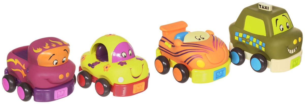B.Dot Набор машинок Wheeee-Is 4 шт68621Яркий набор машинок Wheeee-Is привлечет внимание вашего малыша и станет его любимой игрушкой. В набор входят четыре мягких пузатых машинки. Каждая машинка имеет инерционный механизм движения: стоит откатить ее назад, и отпустить, и машинка молниеносно поедет вперед! Машинки оформлены в оригинальном стиле и ярких цветах, у каждой машинки свой индивидуальный звук. Игрушки выполнены из пластика и твердой, но податливой к сжиманию, резины. Ваш малыш часами будет играть с таким набором, придумывая различные истории и устраивая соревнования. Порадуйте его таким замечательным подарком!