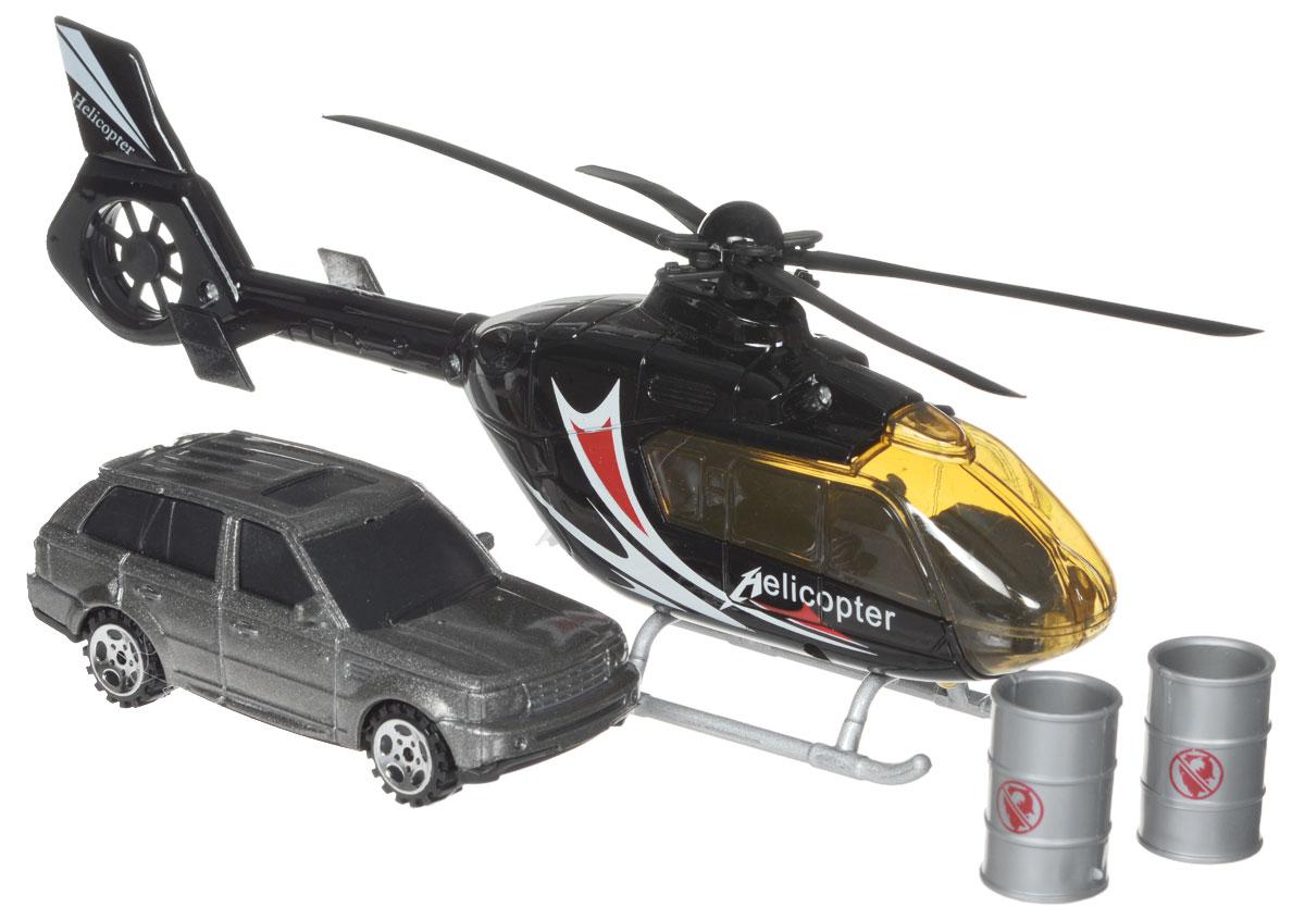 Big Motors Игровой набор Вертолет и машина цвет черный серый22990-81009-2;JL81009-2Набор игровой Big motors Вертолет и машинка включает в себя вертолет, машинку и 2 пластиковые бочки. Лопасти вертолета и колеса машинки вращаются. При нажатии на пропеллер вертолета, у него включаются световые и звуковые эффекты. Этот чудесный набор будет отличным подарком любому мальчишке. Теперь устроить головокружительные трюки с участием вертолета и машины проще простого! Игрушка работает от 3 батареек типа LR54 (LR 1130) (набор комплектуется демонстрационными).