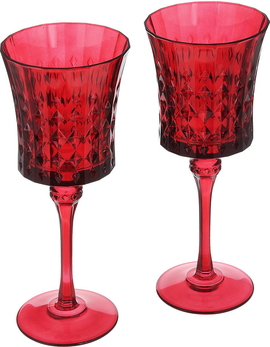 Набор бокалов Cristal dArques Lady Diamond, цвет: красный, 270 мл, 2 штJ1642Набор Cristal dArques Lady Diamond состоит из двух бокалов, выполненных из прочного стекла. Изделия оснащены высокими ножками и предназначены для подачи различных напитков. Они сочетают в себе элегантный дизайн и функциональность. Набор бокалов Cristal dArques Lady Diamond прекрасно оформит праздничный стол и создаст приятную атмосферу за романтическим ужином. Такой набор также станет хорошим подарком к любому случаю. Можно мыть в посудомоечной машине. Диаметр бокала (по верхнему краю): 9 см. Высота бокала: 21,5 см. Диаметр основания: 7,5 см.