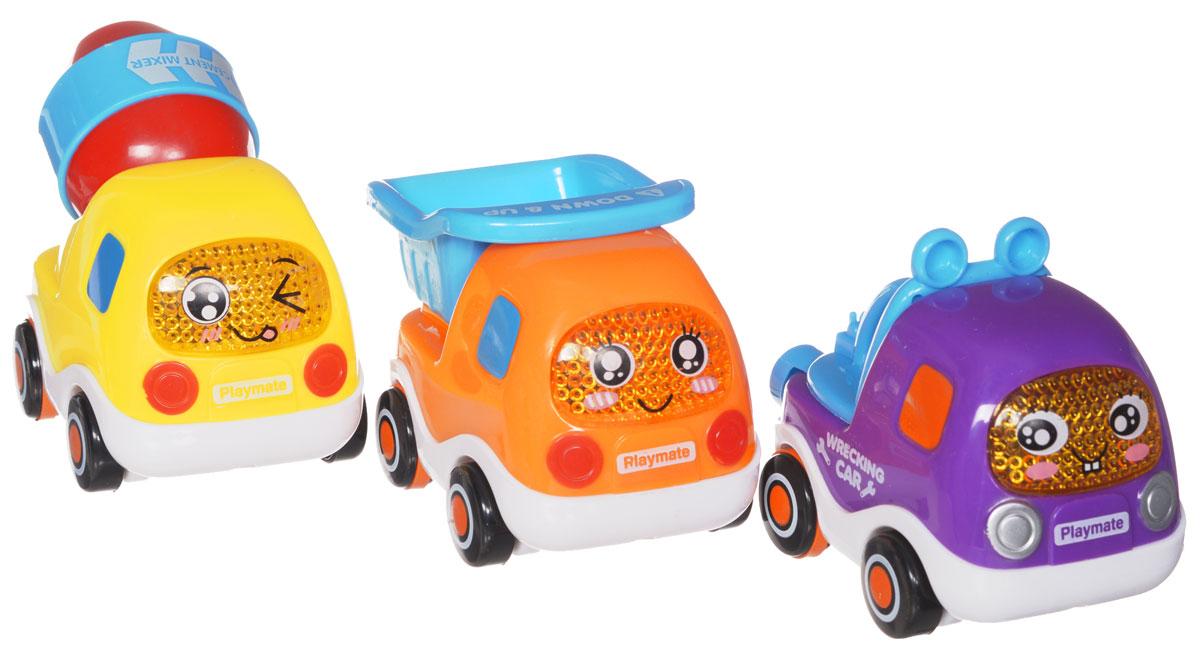 Happy Baby Набор инерционных грузовиков 3 шт330066Набор инерционных грузовиков Happy Baby привлечет внимание вашего ребенка и не позволит ему скучать. Набор состоит из трех ярких веселых грузовичков с забавными мордочками и нарисованными глазками. Машинки с разными кузовами: бетономешалка, самосвал и спасательное оборудование. Грузовички оснащены инерционным механизмом движения: стоит откатить машинку назад, слегка нажав на крышу, и отпустить, и она молниеносно поедет вперед Ребенок сможет часами играть с этим набором, придумывая различные истории. Кроме того, такой яркий забавный набор поможет ребенку развить цветовое восприятие, мелкую моторику рук и воображение.