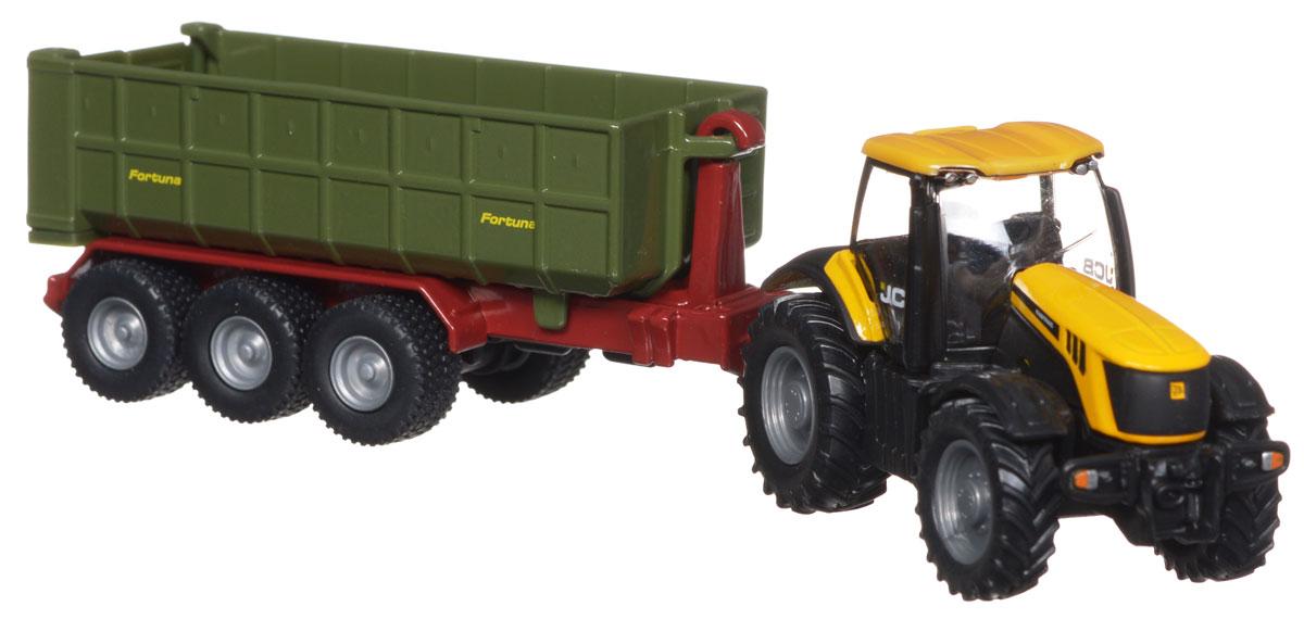 Siku Трактор JCB с прицепом1855Коллекционная модель Siku Трактор JCB выполнена в виде точной копии трактора с прицепом в масштабе 1/87. Такая модель понравится не только ребенку, но и взрослому коллекционеру и приятно удивит вас высочайшим качеством исполнения. Корпус трактора и прицеп выполнены из металла, стекла кабины трактора - из прозрачного пластика. Прицеп кузова легко цепляется к трактору. Кабина трактора снимается, кузов прицепа опрокидывается для выгрузки, задний борт прицепа открывается. Прорезиненные ребристые колеса обеспечивают хорошее сцепление с любой поверхностью. Коллекционная модель отличается великолепным качеством исполнения и детальной проработкой, она станет не только интересной игрушкой для ребенка, интересующегося техникой, но и займет достойное место в коллекции.