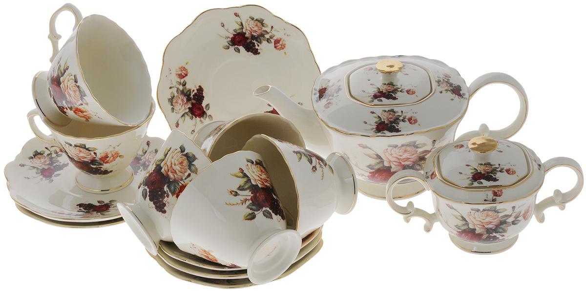 Набор чайный Elan Gallery Бархатный нектар, 14 предметов801147Чайный набор Elan Gallery Бархатный нектар состоит из 6 чашек, 6 блюдец, сахарницы и заварочного чайника. Изделия, выполненные из высококачественной керамики, имеют элегантный дизайн и классическую форму. Такой набор прекрасно подойдет как для повседневного использования, так и для праздников. Чайный набор Elan Gallery Бархатный нектар - это не только яркий и полезный подарок для родных и близких, а также великолепное решение для вашей кухни или столовой. Не использовать в микроволновой печи. Объем чашки: 250 мл. Размер чашки (по верхнему краю): 10 х 10 см. Высота чашки: 7,5 см. Размер блюдца (по верхнему краю): 15,5 х 15,5 см. Высота блюдца: 2 см. Высота чайника (без учета ручки и крышки): 10,5 см. Объем чайника: 1,4 л. Размер сахарницы по верхнему краю: 7,5 х 7,5 см. Высота сахарницы (без учета крышки): 7,5 см.
