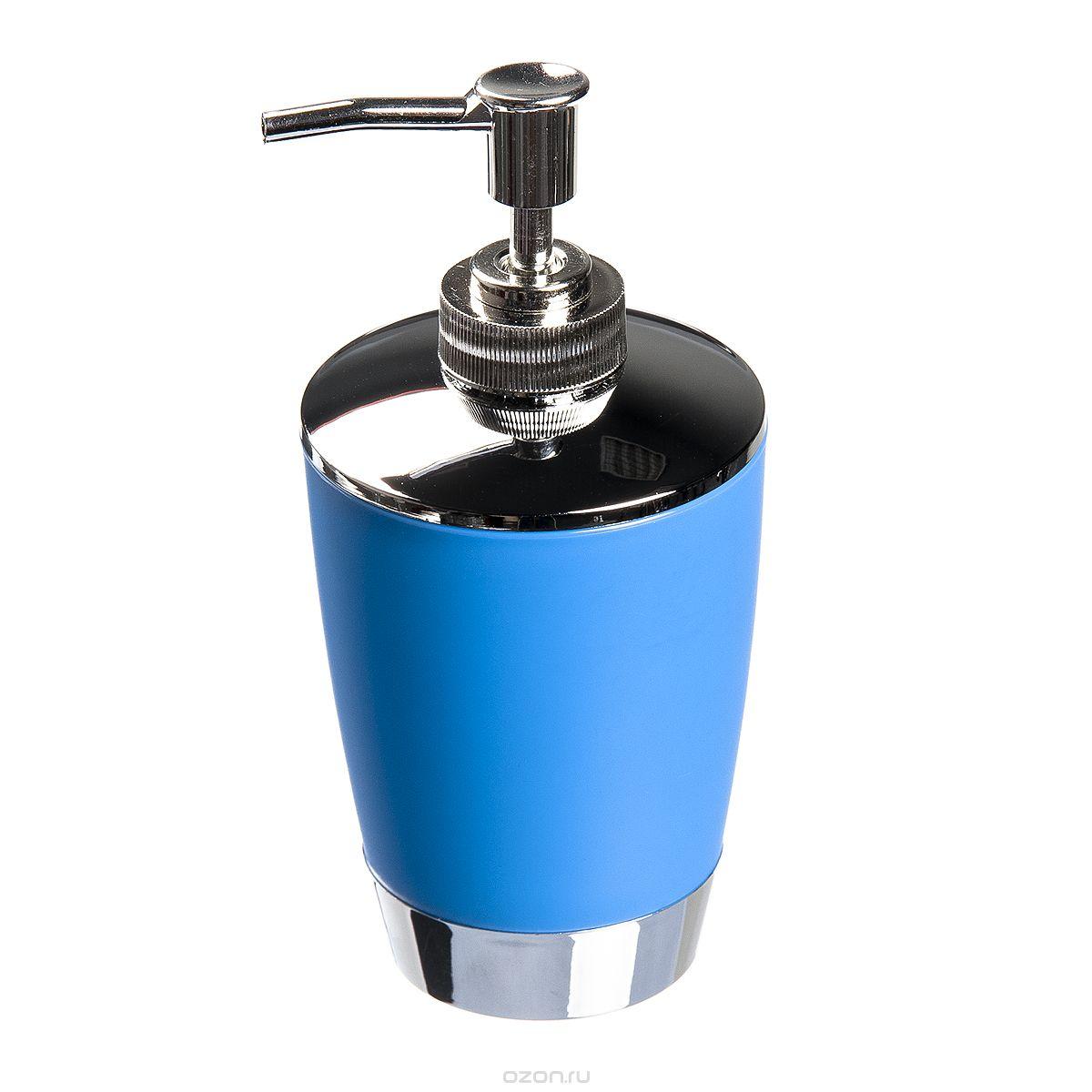 Диспенсер для жидкого мыла Fresh Code Настроение, цвет: голубой, 300 мл64922_голубойДиспенсер для жидкого мыла Fresh Code Настроение изготовлен из высокопрочного полипропилена с нескользящим покрытием. Изделие выполнено в строгой классической форме и дополнено элементами цвета металлик. Диспенсер для мыла очень удобен в использовании: просто надавите сверху, и из диспенсера выльется необходимое количество мыла. Диспенсер для жидкого мыла Fresh Code Настроение стильно украсит интерьер, а также добавит в обычную обстановку яркие и модные акценты.