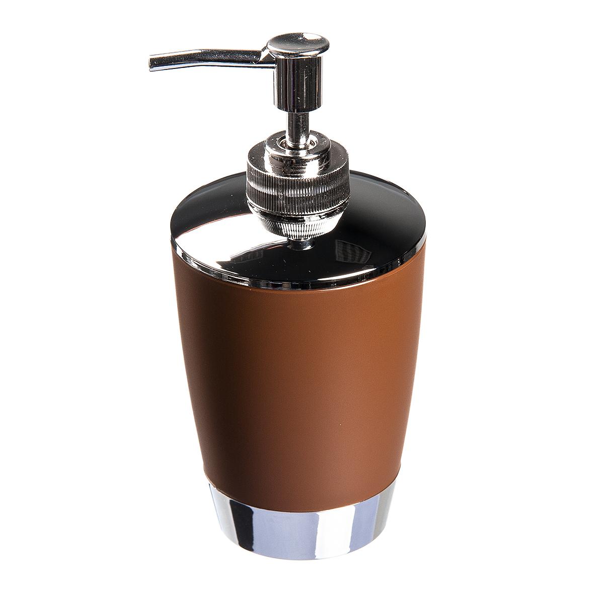 Диспенсер для жидкого мыла Fresh Code Настроение, цвет: коричневый, 300 мл64922_ коричневыйДиспенсер для жидкого мыла Fresh Code Настроение изготовлен из высокопрочного полипропилена с нескользящим покрытием. Изделие выполнено в строгой классической форме и дополнено элементами цвета металлик. Диспенсер для мыла очень удобен в использовании: просто надавите сверху, и из диспенсера выльется необходимое количество мыла. Диспенсер для жидкого мыла Fresh Code Настроение стильно украсит интерьер, а также добавит в обычную обстановку яркие и модные акценты.