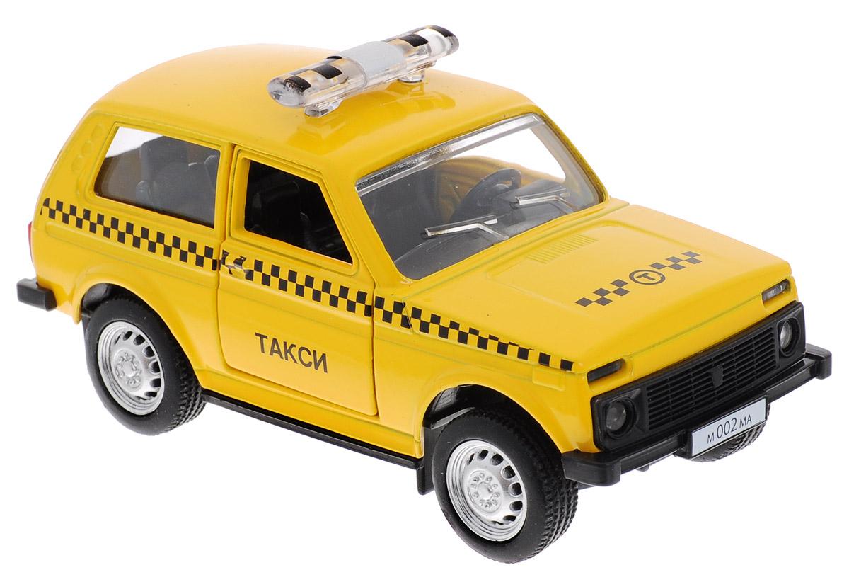ТехноПарк Модель автомобиля Lada 4х4 ТаксиX600-H09012-RМодель автомобиля ТехноПарк Lada 4х4. Такси, выполненная из пластика и металла, станет любимой игрушкой вашего малыша. Машинка представляет собой модель автомобиля такси марки Лада. Дверцы кабины открываются. Игрушка оснащена инерционным ходом. Машинку необходимо отвести назад, затем отпустить - и она быстро поедет вперед. Прорезиненные колеса обеспечивают надежное сцепление с любой гладкой поверхностью. Ваш ребенок будет часами играть с этой машинкой, придумывая различные истории. Порадуйте его таким замечательным подарком!