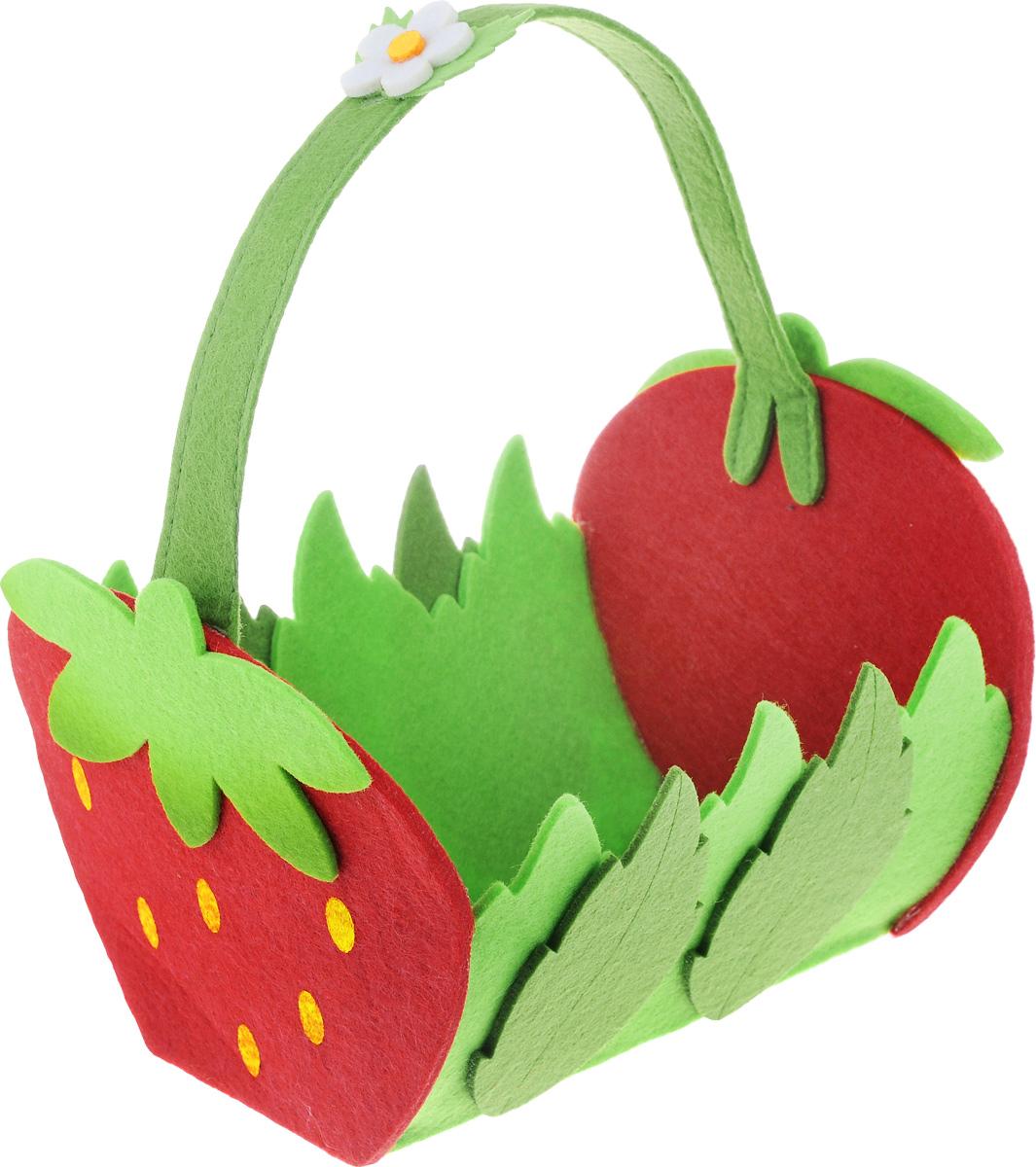 Декоративное украшение RTO Корзинка, цвет: красный, зеленый, 23 х 19 х 15 смHCQ02-2228Декоративное украшение RTO Корзинка предназначено для оформления интерьера. Изделие выполнено из фетра, стенки оформлены в виде ягод клубники и листьев. Декоративное украшение послужит приятным и полезным сувениром для близких и знакомых и, несомненно, доставит массу положительных эмоций своему обладателю.