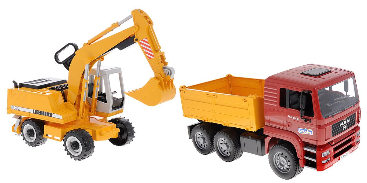 Bruder Самосвал MAN с колесным экскаватором Liebherr02-751Самосвал Bruder MAN с колесным экскаватором Liebherr выполнены в точной копии с реальной моделью в масштабе 1:16. Самосвал отличается шикарной детализацией элементов оформления настоящей спецтехники. Кабина водителя откидывается и предоставляет доступ к двигателю, кузов также опрокидывается для погрузки и разгрузки, он может быть зафиксирован в нужном положении. Прорезиненные колеса позволят наслаждаться игрой даже в домашних условиях. Складные зеркала, поворачивающаяся кабина колесного эскалатора, управление раскопкой при помощи удобной ручки - все это делает игрушку выбором номер один для вашего ребенка. Порадуйте его таким замечательным подарком!
