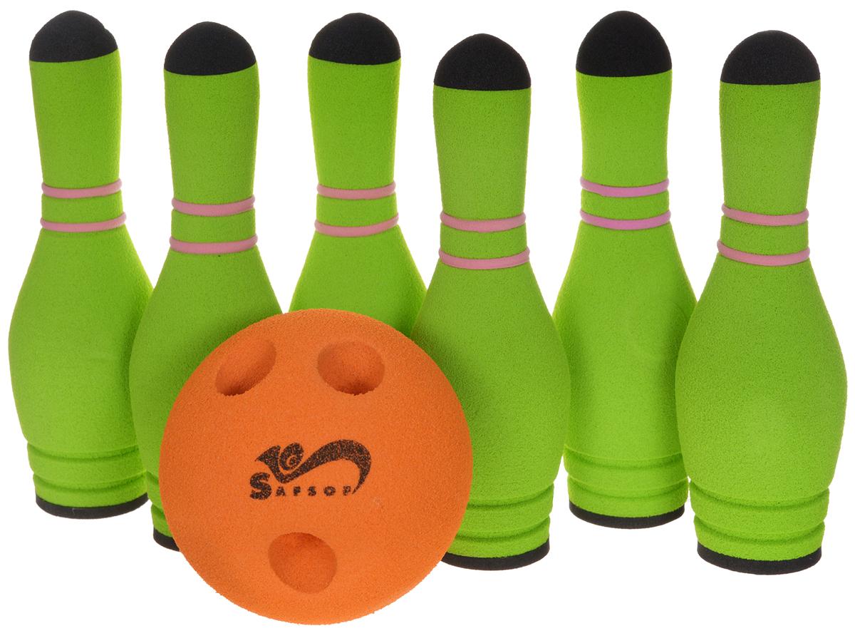 Safsof Игровой набор Мини-боулинг цвет салатовый оранжевыйMBB-05(B)_салатовый, оранжевыйИгровой набор Safsof Мини-боулинг, изготовленный из вспененной резины, состоит из шести кеглей и шара. Набор выполнен из мягкого материала, что обеспечивает безопасность ребенку. Суть игры в боулинг - сбить шаром максимальное количество кеглей. Число игроков и количество туров - произвольное. Очки, набранные с каждым броском мяча, рассматриваются как количество сбитых кегель. Расстояние, с которого совершается бросок, определяется игроками. Каждый игрок имеет право на два броска в одной рамке (рамка - треугольник, на поле которого выстраиваются кегли перед каждым первым броском очередного игрока). Бросок, при котором все кегли сбиты, называется страйк и обозначается как Х. Если все кегли сбиты первым броском, второй бросок не требуется: рамка считается закрытой. Призовые очки за страйк - это сумма кеглей, сбитых игроком следующими двумя бросками. Выигрывает тот игрок, который в сумме набирает больше очков.