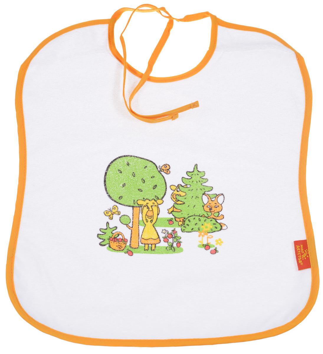 Мир детства Слюнявчик Коровкины истории цвет оранжевый15032_оранжевыйСлюнявчик Мир детства  - станет незаменимым атрибутом в уходе за вашим малышом. Нагрудник предназначен для малыша от 6 месяцев до 3 лет. Слюнявчик оформлен забавным изображением. Лицевая сторона изготовлена из мягкой ткани, подкладка - из непромокаемого материала, благодаря которому одежда вашего малыша будет оставаться сухой и чистой. С помощью завязок слюнявчик фиксируется на шее ребенка. Уход: стирка в теплой воде с мылом, мыльным порошком или специальной эмульсией для стирки детских вещей.