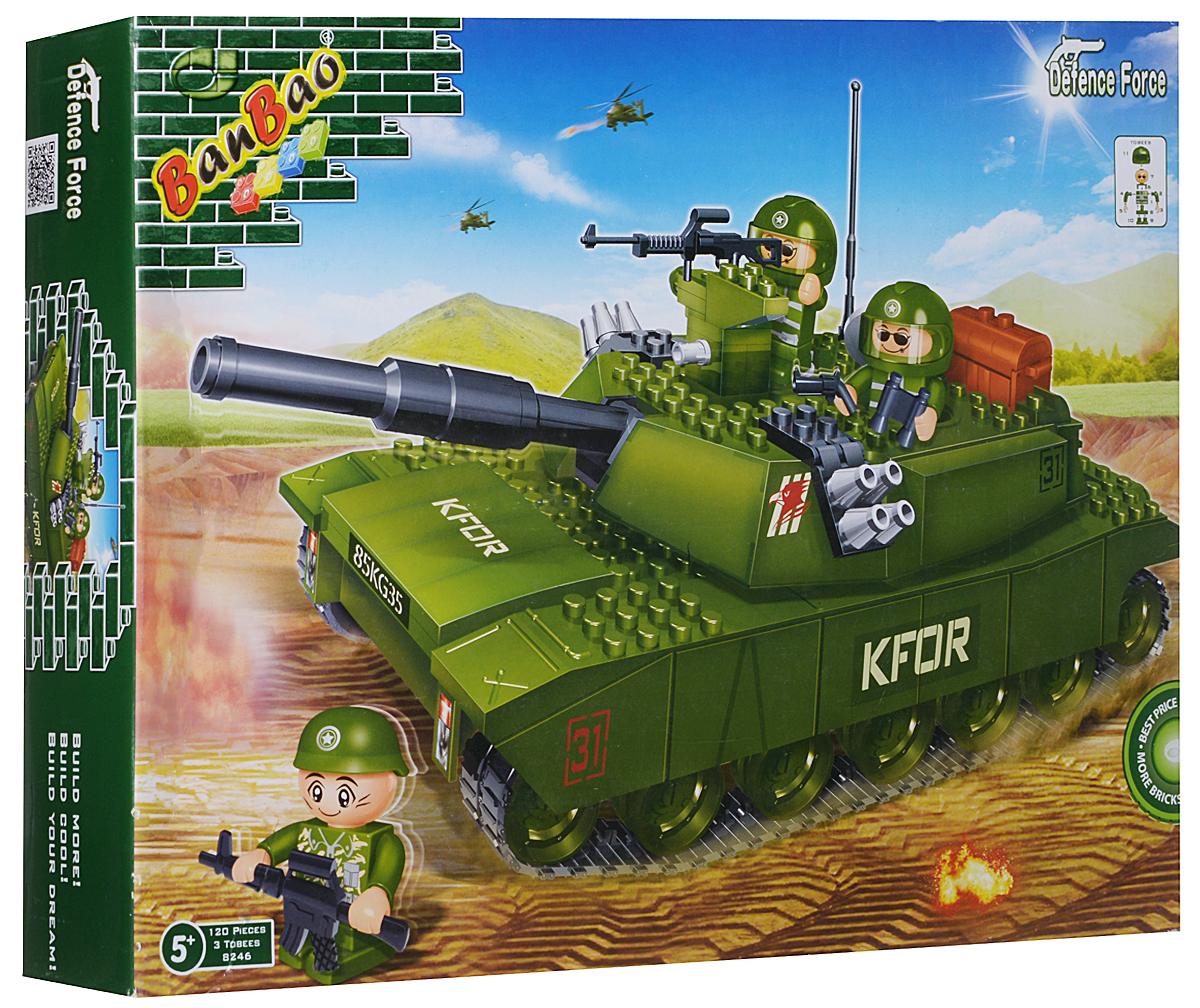 BanBao Конструктор Танк8246Конструктор Танк обязательно понравится любому мальчику. Он содержит три фигурки солдатиков, пластиковые детали конструктора и иллюстрированную инструкцию. Набор позволит ребенку без труда собрать танк, с которым можно играть, а отважные солдаты станут верными товарищами по играм. Фигурки могут разместиться на самом танке, или внутри него, попав туда через откидывающийся люк. Конструктор выполнен из прочного безопасного пластика. Ребенок сможет часами играть с этим конструктором, придумывая разные истории и комбинируя детали. Игры с конструкторами помогут ребенку развить воображение, внимательность, пространственное мышление и творческие способности.