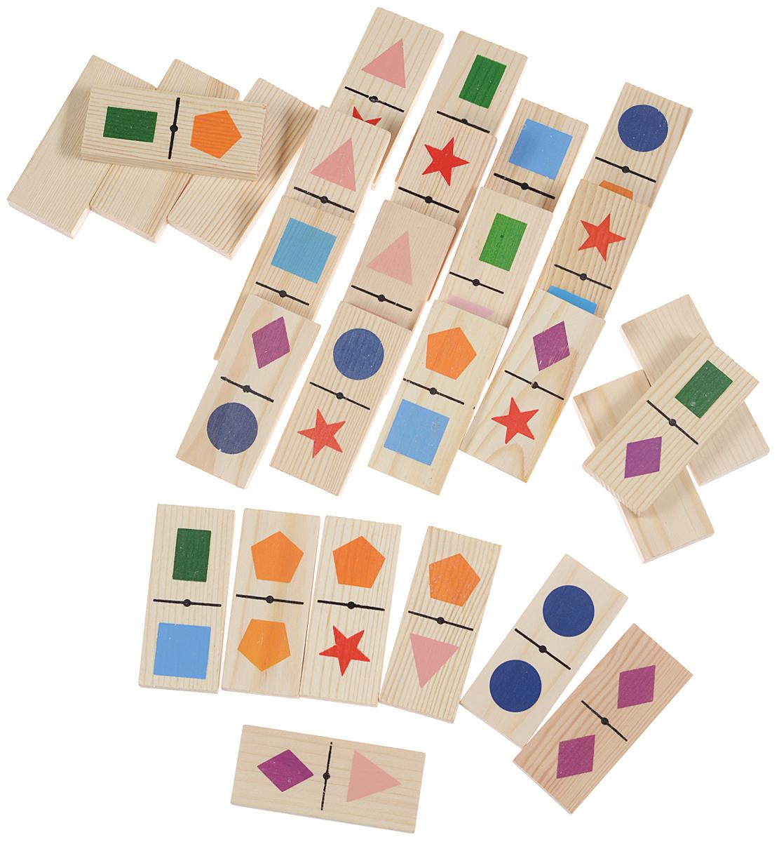 Томик Домино Геометрические фигуры5-1Домино Томик Фрукты-ягоды - это знаменитая игра на основе классических правил. Костяшки домино изготовлены из натурального дерева с изображениями различных видов геометрических фигур. С помощью этого домино вы можете провести большую игру, которая запомнится надолго. Вам понадобится фантазия и немного свободного времени. Поговорите с ребенком, какие он знает фигуры, где он их видел. А в заключении поиграйте в одну из самых увлекательных игр - домино. Игра в домино помогает развитию наглядно- образного мышления, активного словаря, представлений о предметах, памяти, внимания, величины и формы.