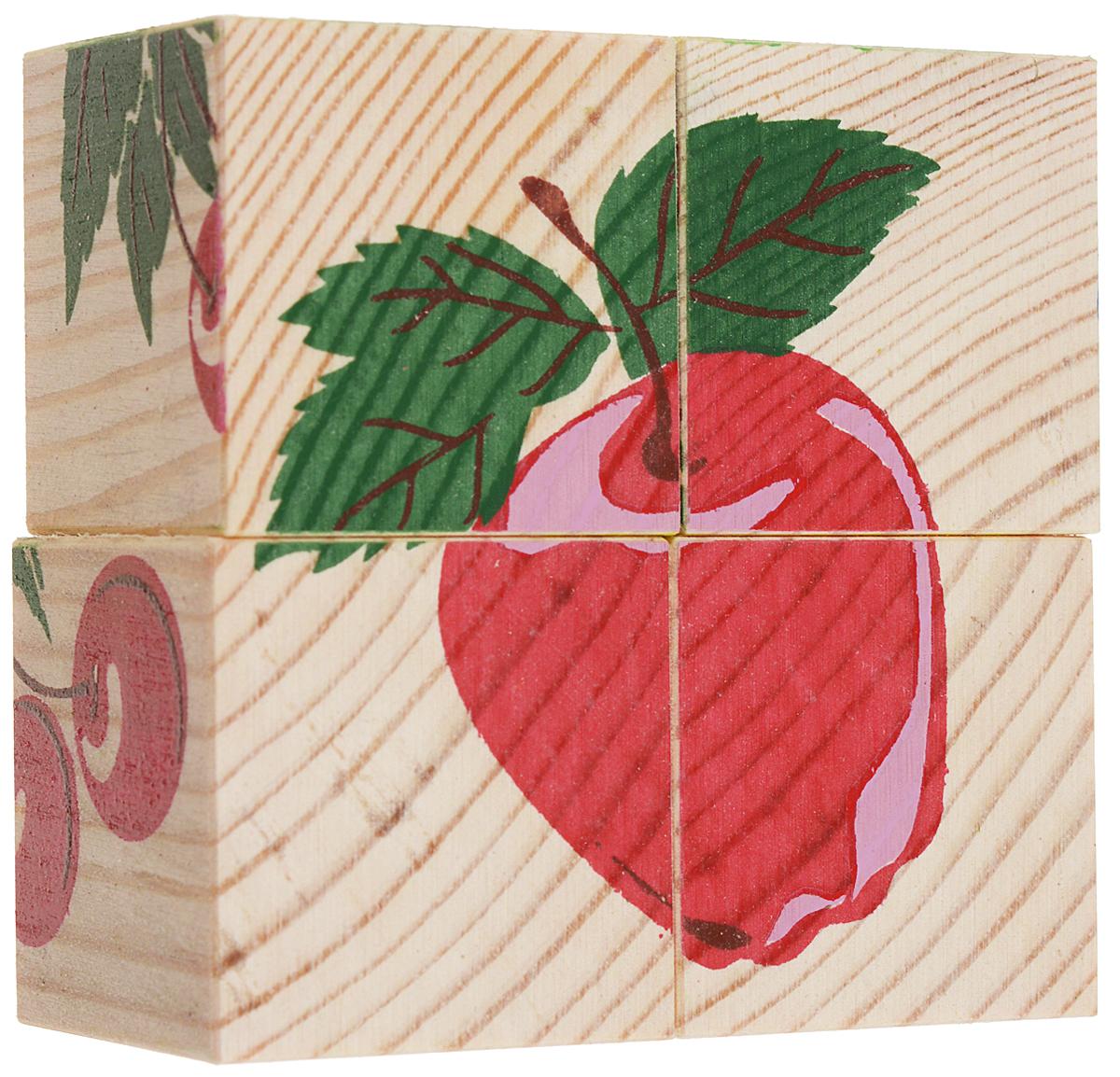 Томик Кубики Фрукты-ягоды3333-2Кубики Томик Фрукты-ягоды - это одна из самых популярных и необходимых игрушек для малыша. Деревянные кубики с рисунками многие родители неслучайно выбирают в качестве одной из первых игрушек для своих малышей. Ведь это не только прекрасный строительный материал для детских замков, но и удобное пособие для развития зрительной памяти, логики и мелкой моторики у детей. Объясните ребенку, что на каждом кубике нанесены части картинки, которые надо собрать вместе. Покажите как, вращая кубик, можно найти необходимый кусочек изображения. С помощью кубиков можно собрать 6 разных изображений фруктов и ягод.