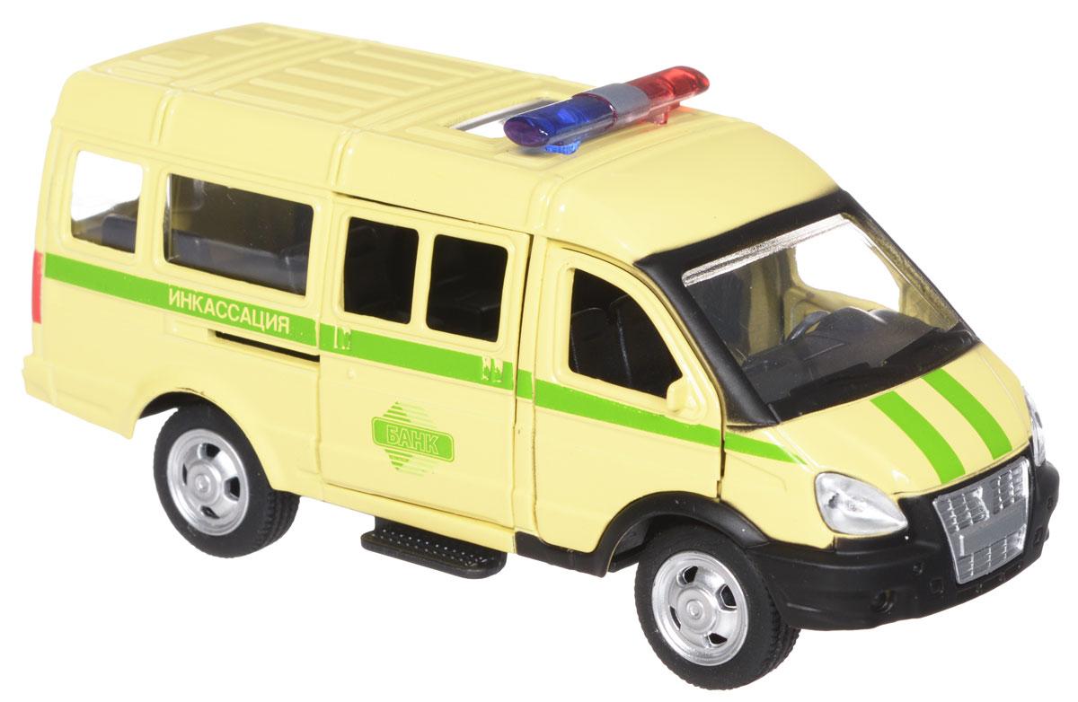 ТехноПарк Модель автомобиля Газель ИнкассацияX600-H09037-RМодель автомобиля ТехноПарк Газель: Инкассация, выполненная из металла, пластика и резины, станет любимой игрушкой вашего малыша. Игрушка представляет собой модель автомобиля инкассаторской службы Газель в масштабе 1:50. Передние и боковая дверцы модели открываются, а прорезиненные колеса обеспечивают надежное сцепление с любой поверхностью пола. Модель оснащена инерционным ходом: достаточно немного отвести ее назад, а затем отпустить - машинка быстро поедет вперед. Ваш ребенок будет часами играть с этой машинкой, придумывая различные истории. Порадуйте его таким замечательным подарком!
