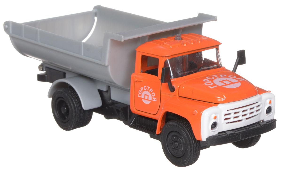 ТехноПарк Модель автомобиля ЗИЛ 130 Горстрой цвет оранжевыйCT11-271-1+2_оранжевыйМодель автомобиля ТехноПарк ЗИЛ 130: Горстрой, выполненная из металла, пластика и резины, станет любимой игрушкой вашего малыша. Игрушка представляет собой модель грузовика ЗИЛ 130 Горстроя в масштабе 1:43. Дверцы модели и капот открываются, кузов поднимается, а прорезиненные колеса обеспечивают надежное сцепление с любой поверхностью пола. При нажатии на кнопку на крыше кабины светятся фары и слышен звук работающего двигателя. Модель оснащена инерционным ходом: достаточно немного отвести ее назад, а затем отпустить - машинка быстро поедет вперед. Ваш ребенок будет часами играть с этой машинкой, придумывая различные истории. Порадуйте его таким замечательным подарком! Для работы игрушки необходимы 3 батарейки типа LR41 (товар комплектуется демонстрационными).