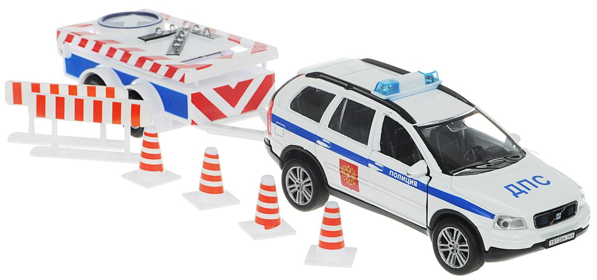 Пламенный мотор Машина инерционная ДПС с прицепом и дорожными знаками87431Машина инерционная Пламенный мотор ДПС с прицепом и дорожными знаками обязательно привлечет внимание вашего мальчика! Выполнена из пластика и металла и представляет собой автомобиль ДПС марки Volvo в масштабе 1:32. Дверцы авто открываются. При нажатии на кнопку со стрелкой замигают лампочки. Игрушка оснащена инерционным ходом. Машинку необходимо отвести назад, затем отпустить - и она быстро поедет вперед. Прорезиненные колеса обеспечивают надежное сцепление с любой поверхностью пола. В наборе: машинка, прицеп, 4 дорожных знака и 2 заграждения. Ваш ребенок будет часами играть с этой машинкой, придумывая различные истории. Порадуйте его таким замечательным подарком! Рекомендуется докупить 2 батарейки типа LR41 (товар комплектуется демонстрационными).