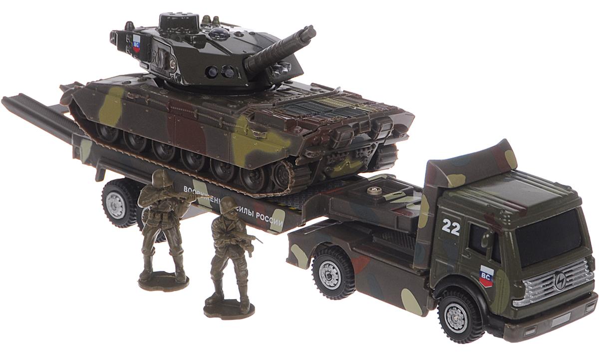 Технопарк Игровой набор Военная техникаCT1061 (SL556/TANK)Игровой набор Технопарк Военная техника - увлекательный набор для сюжетно-ролевых игр, который не оставит равнодушным вашего ребенка. Набор включает в себя тягач, танк и две фигурки военных. Игрушки выполнены из пластика и металла. Трап тягача откидывается. Башня танка и огнемет подвижны. При нажатии кнопки на крыше танка кнопка и лампочки начинают светиться, при этом слышны звуки боя и приказы командира. Танк и тягач имеют подвижные прорезиненные колесики. Тягач и танк оснащены инерционным механизмом: стоит откатить игрушку назад, затем отпустить - и он молниеносно поедет вперед. Ваш ребенок будет часами играть с набором, придумывая различные истории. Порадуйте его таким замечательным подарком! Танк работает от незаменяемых батареек.