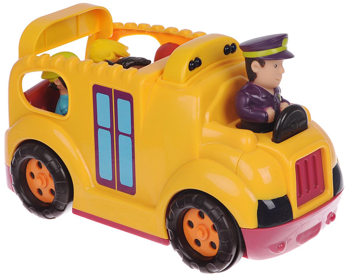 Battat Автобус с пассажирами Буги Бас68632Автобус с пассажирами Battat Буги Бас привлечет внимание вашего ребенка и не позволит ему скучать! Набор включает в себя школьный автобус со звуковыми и световыми эффектами, фигурку водителя и четыре фигурки детей. Если нажать на фигурку водителя, то автобус заведется и поедет. Фары и бортовые огни будут мигать. Во время движения воспроизводится звук работающего двигателя, клаксон, городской шум. Натолкнувшись на препятствие, автобус остановится и поедет назад. Задняя дверца автобуса опускается. Ваш ребенок с удовольствием будет играть с таким набором, придумывая различные истории. Рекомендуется для детей от 18 месяцев до 5 лет. Для работы игрушки необходимы 3 батарейки типа АА (товар комплектуется демонстрационными).
