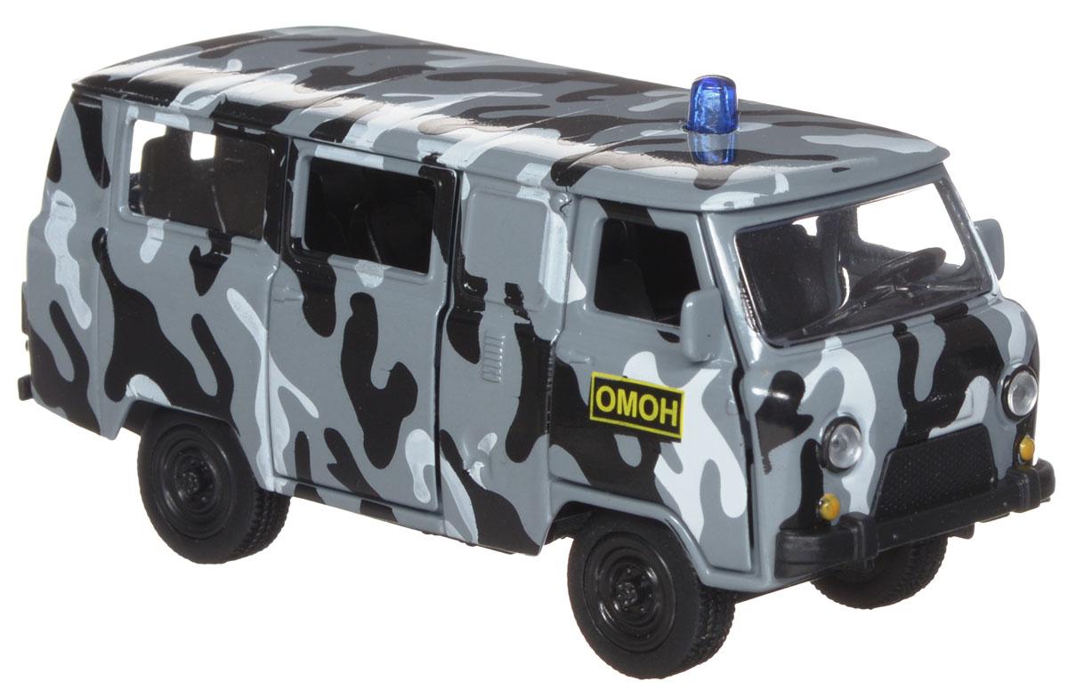 ТехноПарк Модель автомобиля УАЗ 39625 ОМОНX600-H09022-RМодель автомобиля ТехноПарк УАЗ 39625 ОМОН, выполненная из металла, пластика и резины, станет любимой игрушкой вашего малыша. Игрушка представляет собой модель автомобиля ОМОНа УАЗ 39625 в масштабе 1:50. Передние и боковая дверцы модели открываются, а прорезиненные колеса обеспечивают надежное сцепление с любой поверхностью пола. Модель оснащена инерционным ходом: достаточно немного отвести ее назад, а затем отпустить - машинка быстро поедет вперед. Ваш ребенок будет часами играть с этой машинкой, придумывая различные истории. Порадуйте его таким замечательным подарком!