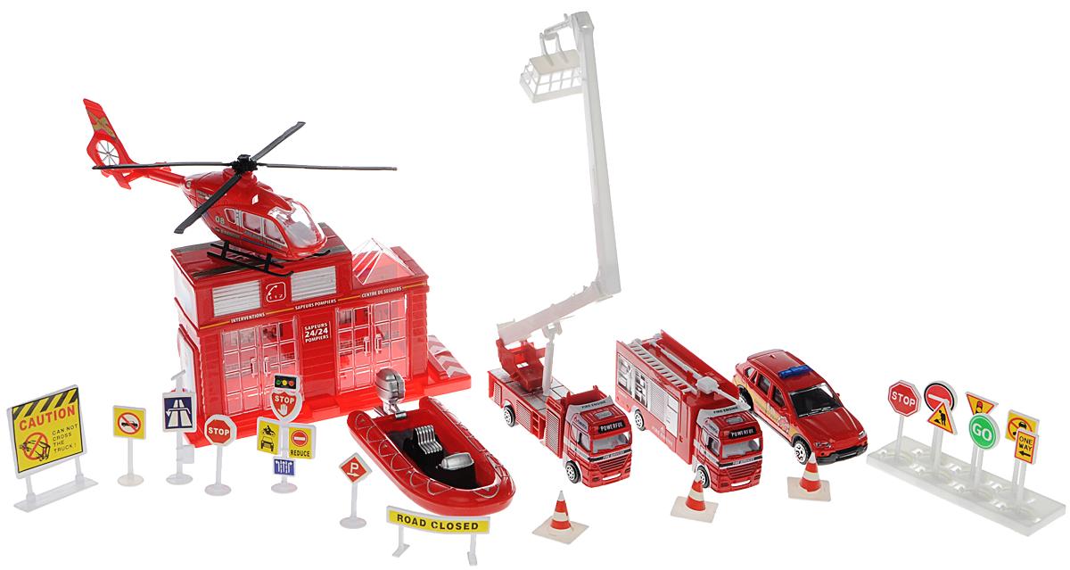 Zhorya Игровой набор Пожарное депо 23 элементаХ75359Яркий игровой набор Zhorya Пожарное депо понравится вашему малышу и надолго займет его внимание. Игровой набор содержит пять видов пожарной техники: вертолет, лодку, грузовик с подъемником, пожарную машину и внедорожник, а также 17 дорожных знаков и ограждений и пожарное депо с открывающимися воротами. Колеса машинок и лопасти вертолета вращаются, стрела автовышки сгибается. С таким набором ваш малыш будет играть часами, придумывая свои сюжеты.