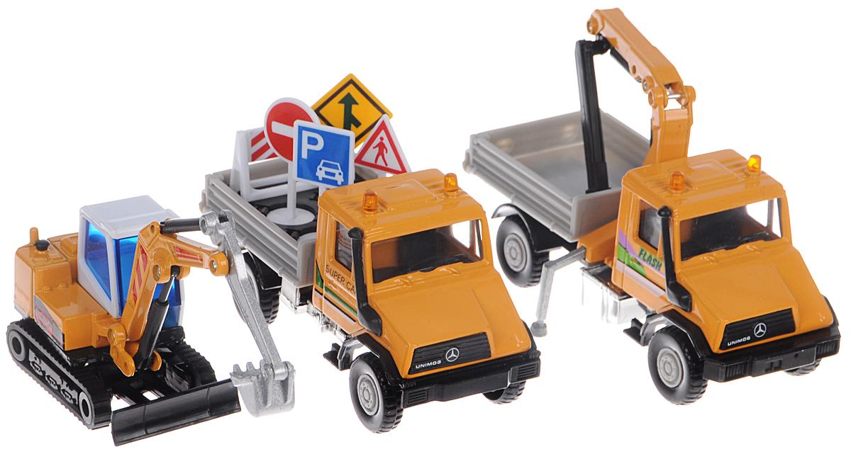 Welly Игровой набор Строительная техника 3 предмета99610-3BЯркий игровой набор Welly Строительная техника, состоящий из трех единиц техники, понравится вашему малышу и надолго займет его внимание. Игровой набор содержит три машины: буксир, грузовик и экскаватор. Все модели яркие по дизайну и приближенные к реальной технике. У экскаватора поднимается и опускается ковш, корпус поворачивается вокруг себя, а при движении гусеничные ленты крутятся. Крюк буксира может складываться и подниматься, бортик кузова открывается, чтобы в него можно было загрузить необходимые предметы для стройки. Еще одна машина в этом наборе - грузовик, в кузове которого располагаются дорожно-строительные знаки, обеспечивающие безопасность строительных и ремонтных работ.